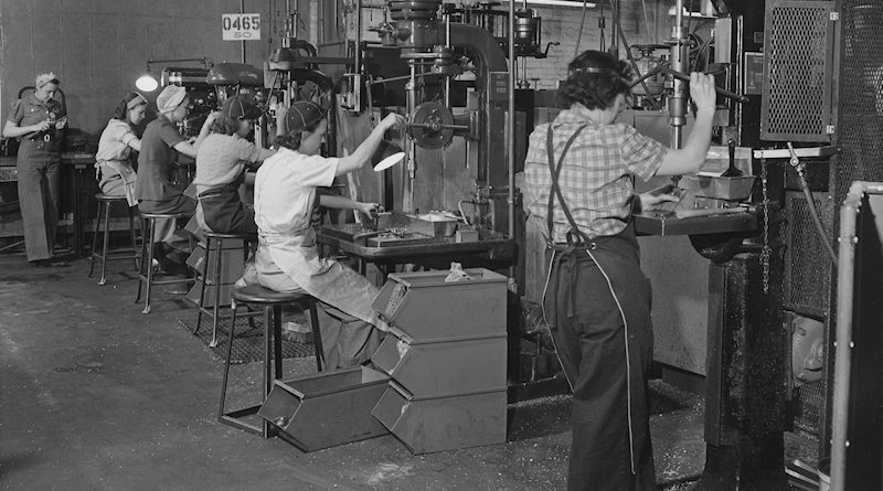 Women Working in Airplane Factory