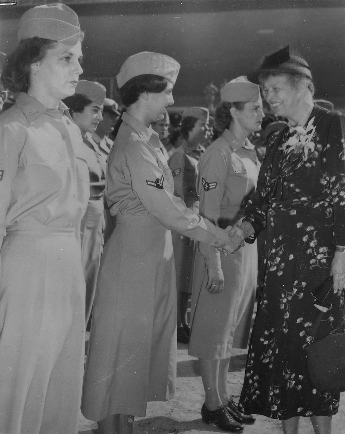 Eleanor Roosevelt Greets WACs in New York