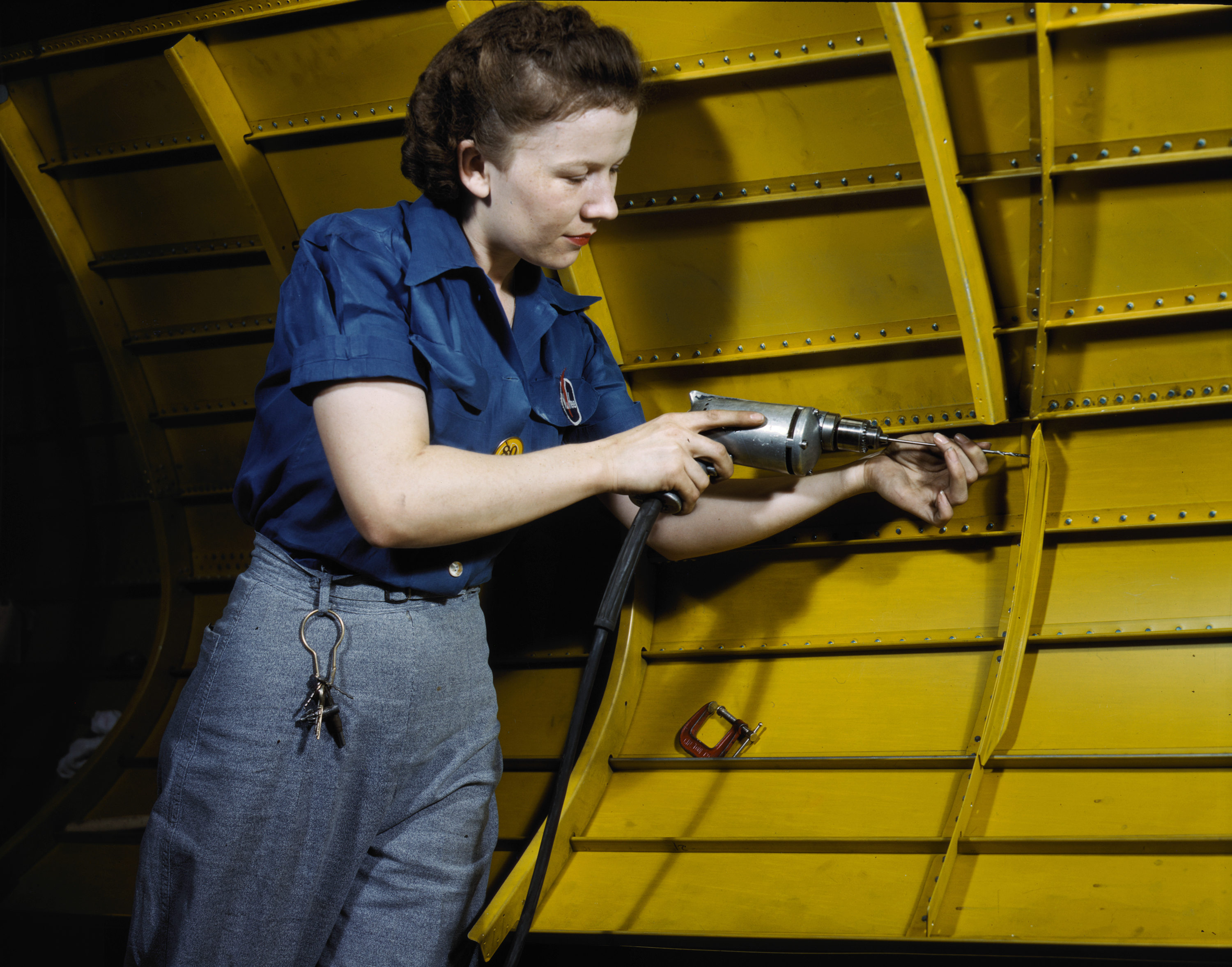 Woman With Drill at Vultee Aircraft Plant in Nashville