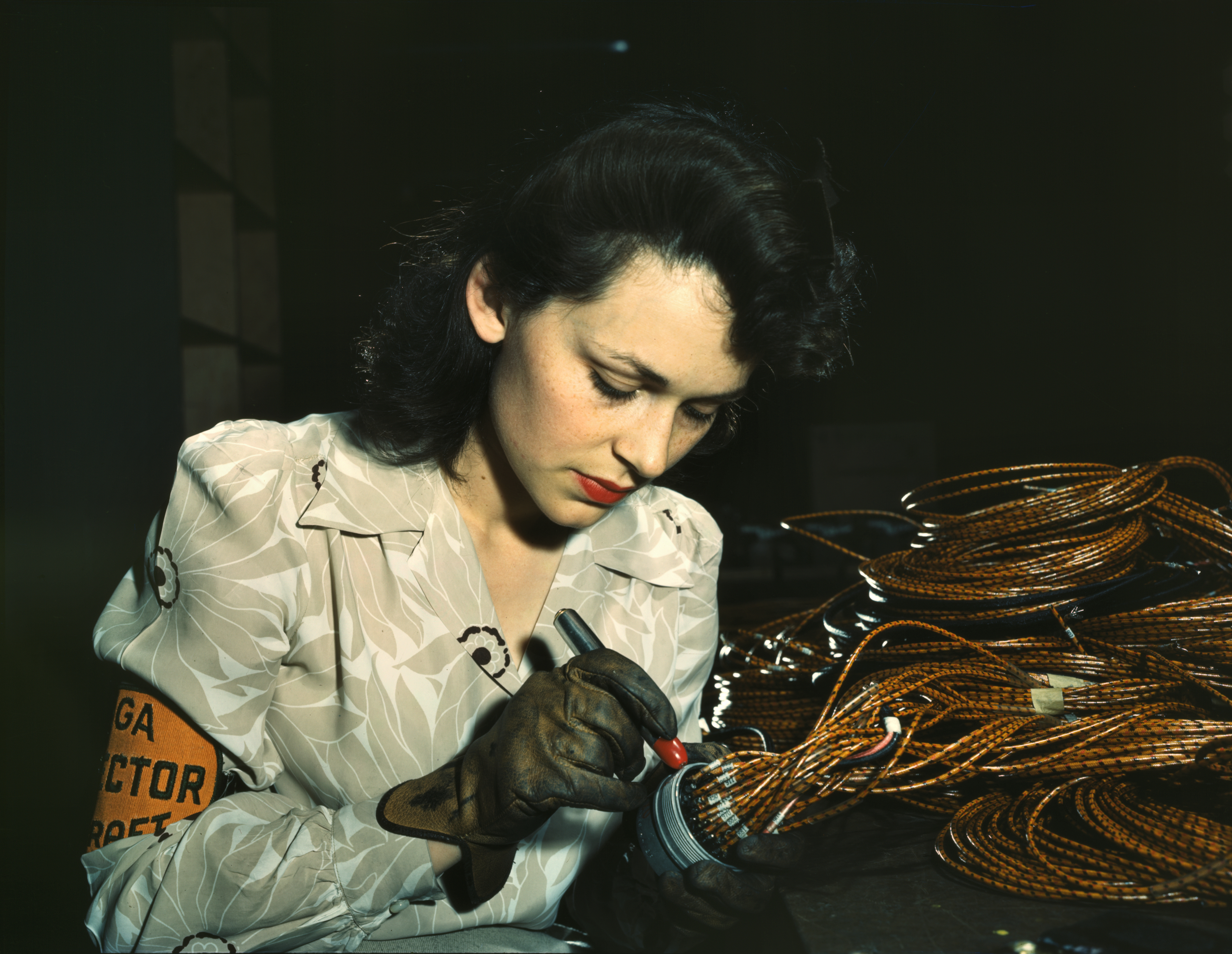 Aircraft Worker Checks Electrical Assemblies