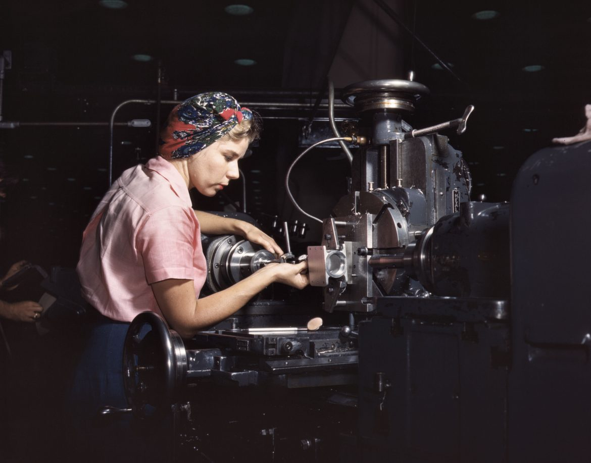 Woman machinist at Douglas Aircraft Company