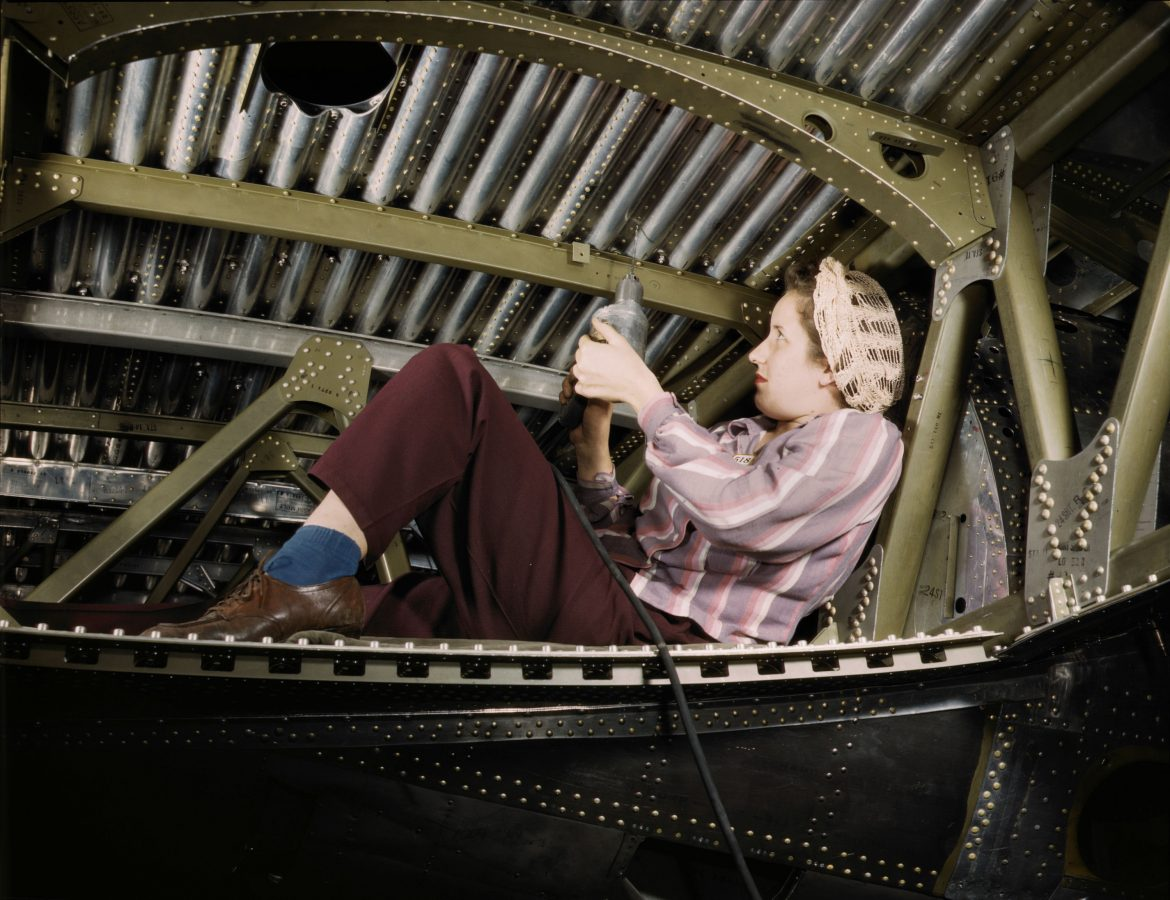 A-20 Bomber Being Riveted by Woman Worker