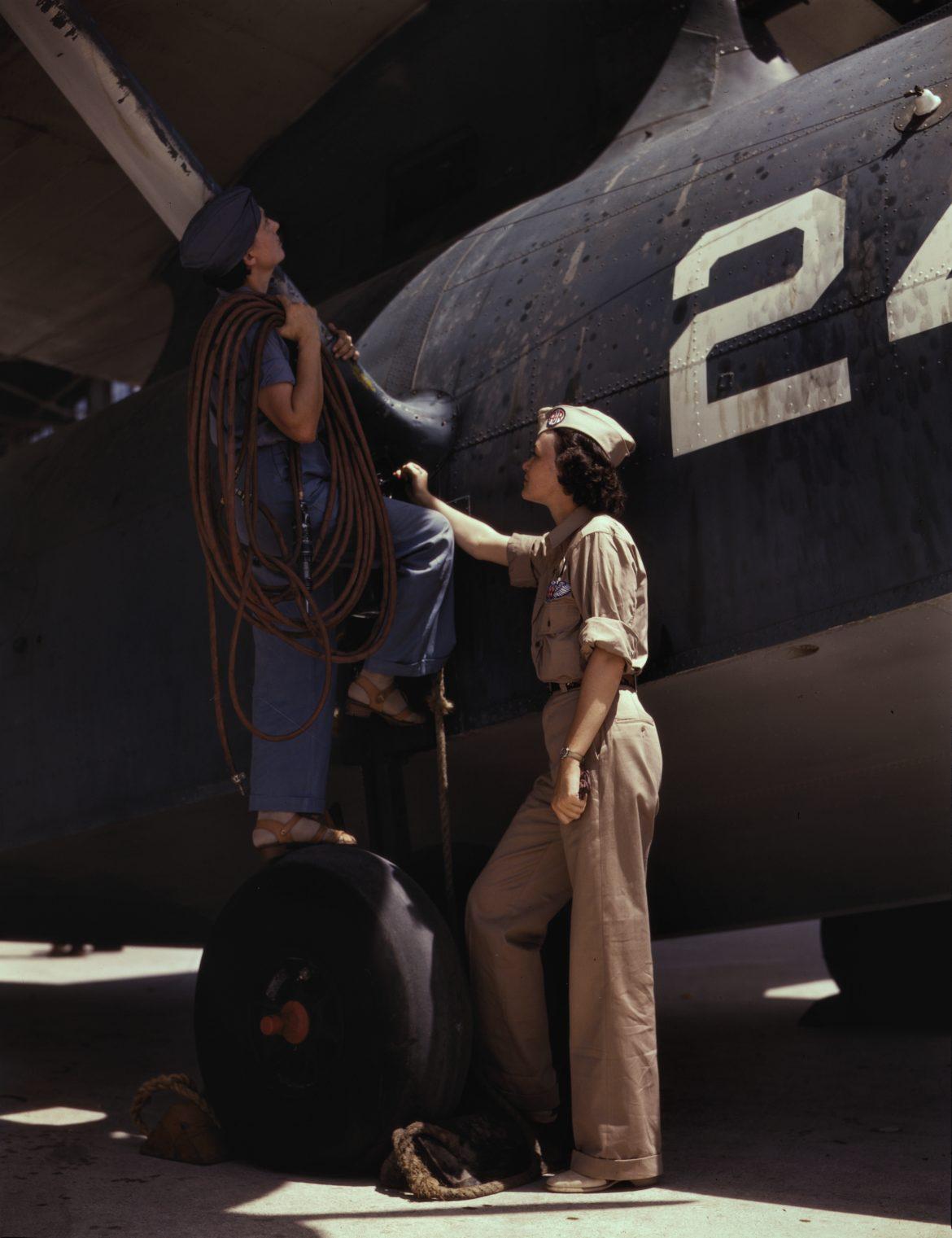 Woman Works as Cowler at Naval Air Base