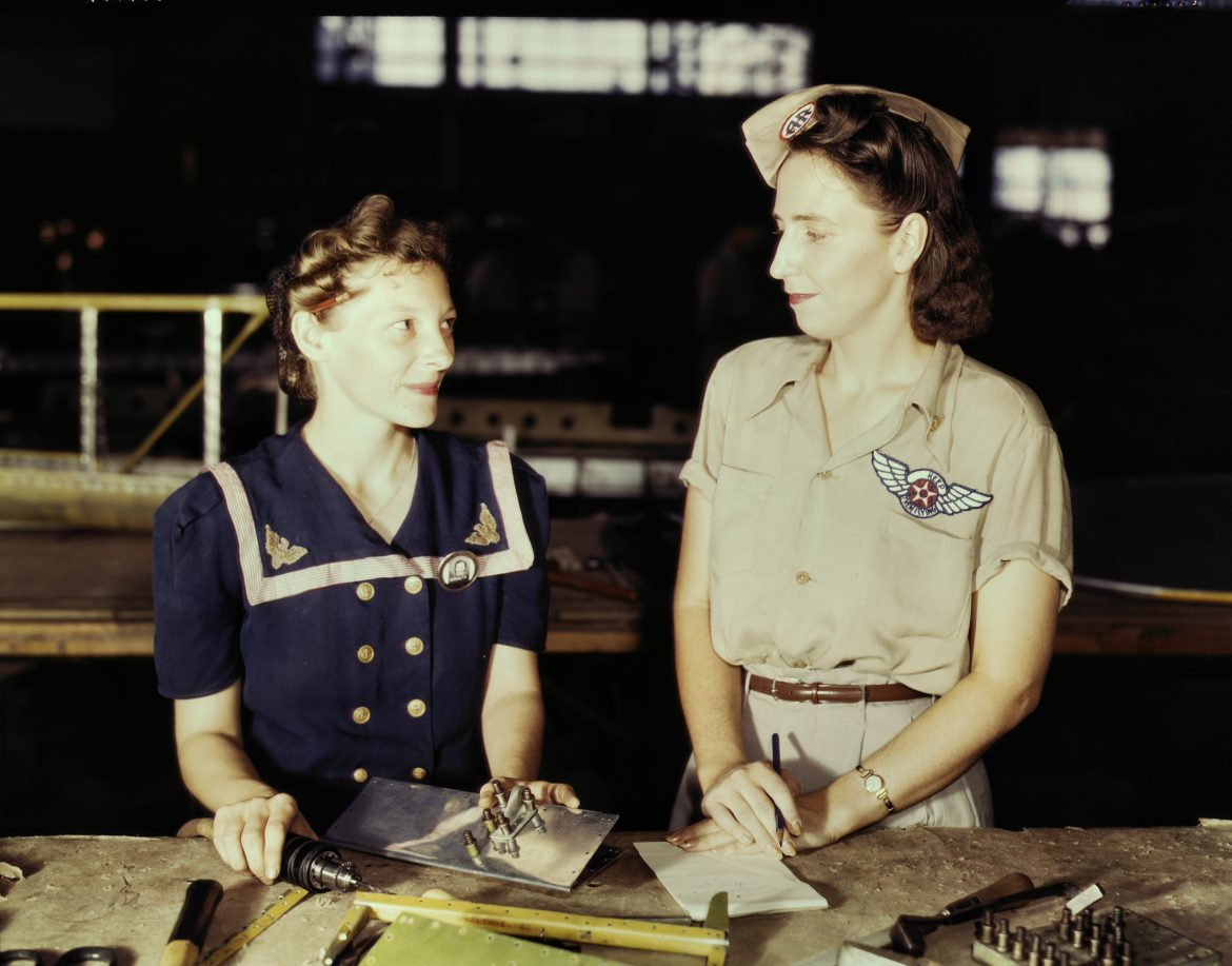 Pearl Harbor Widow Supervises Assembly and Repair Department