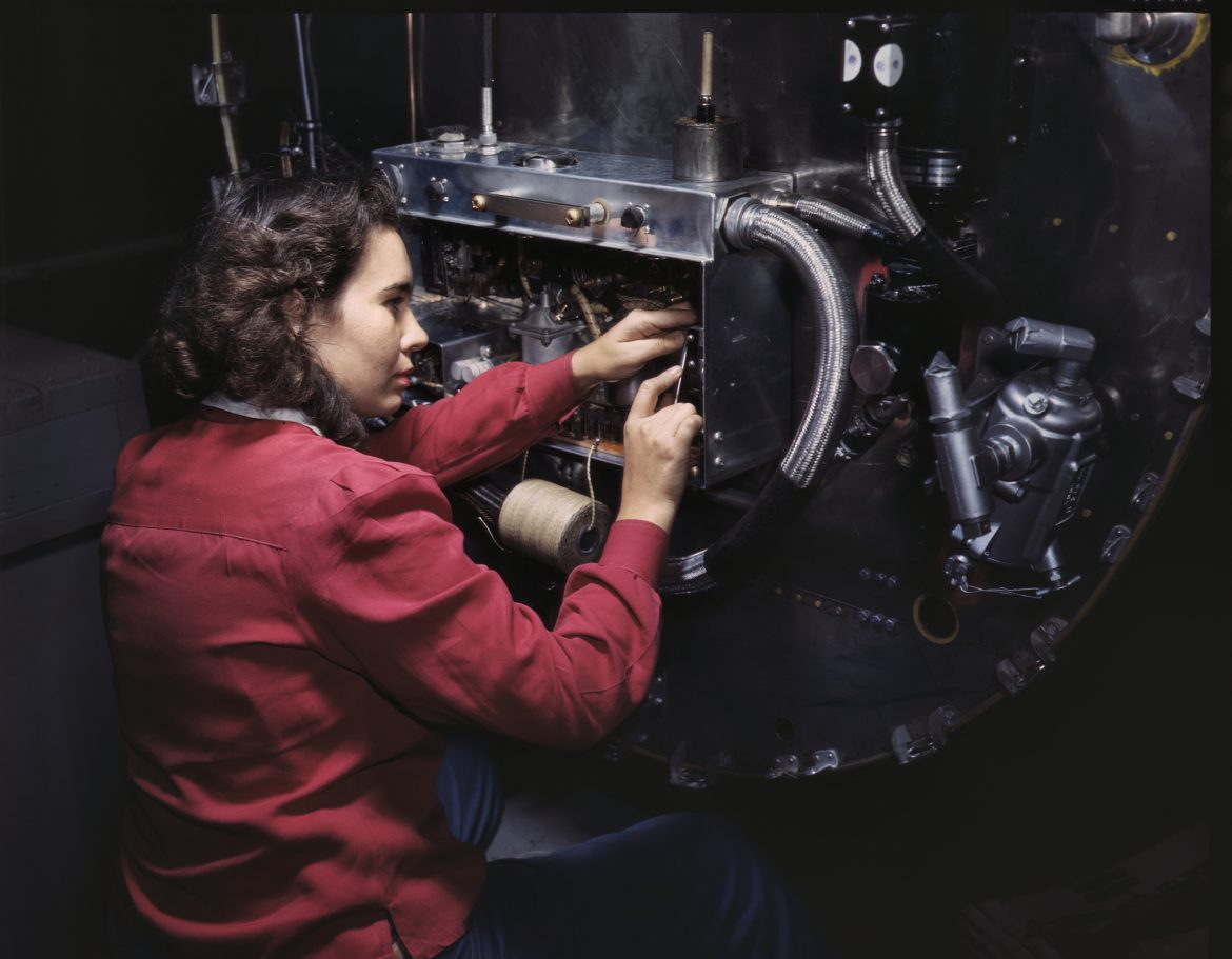 Aviation Workers Assemble B-25 Bomber Switch Boxes