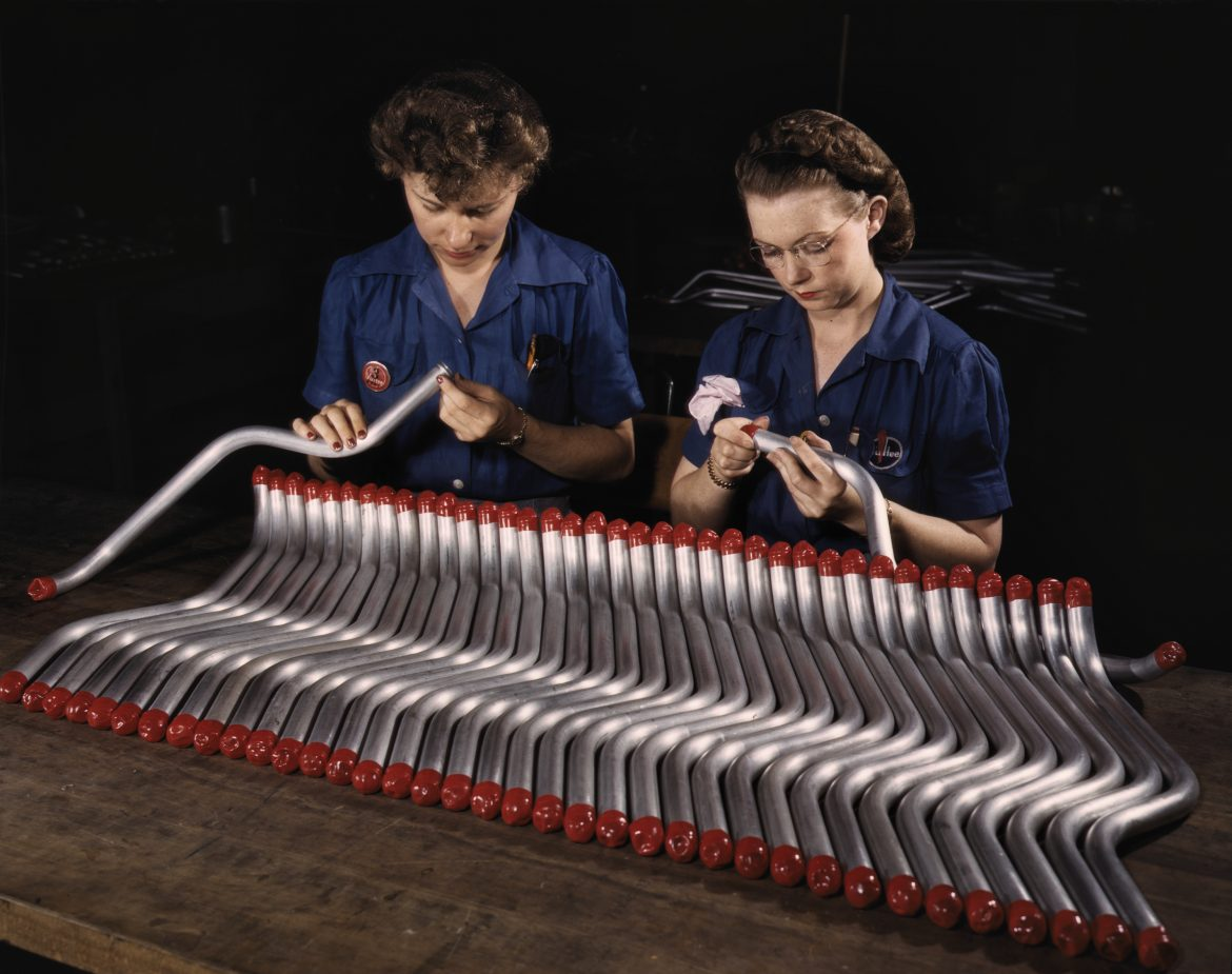 Women Workers Cap and Inspect Tubing at Vultee Aircraft