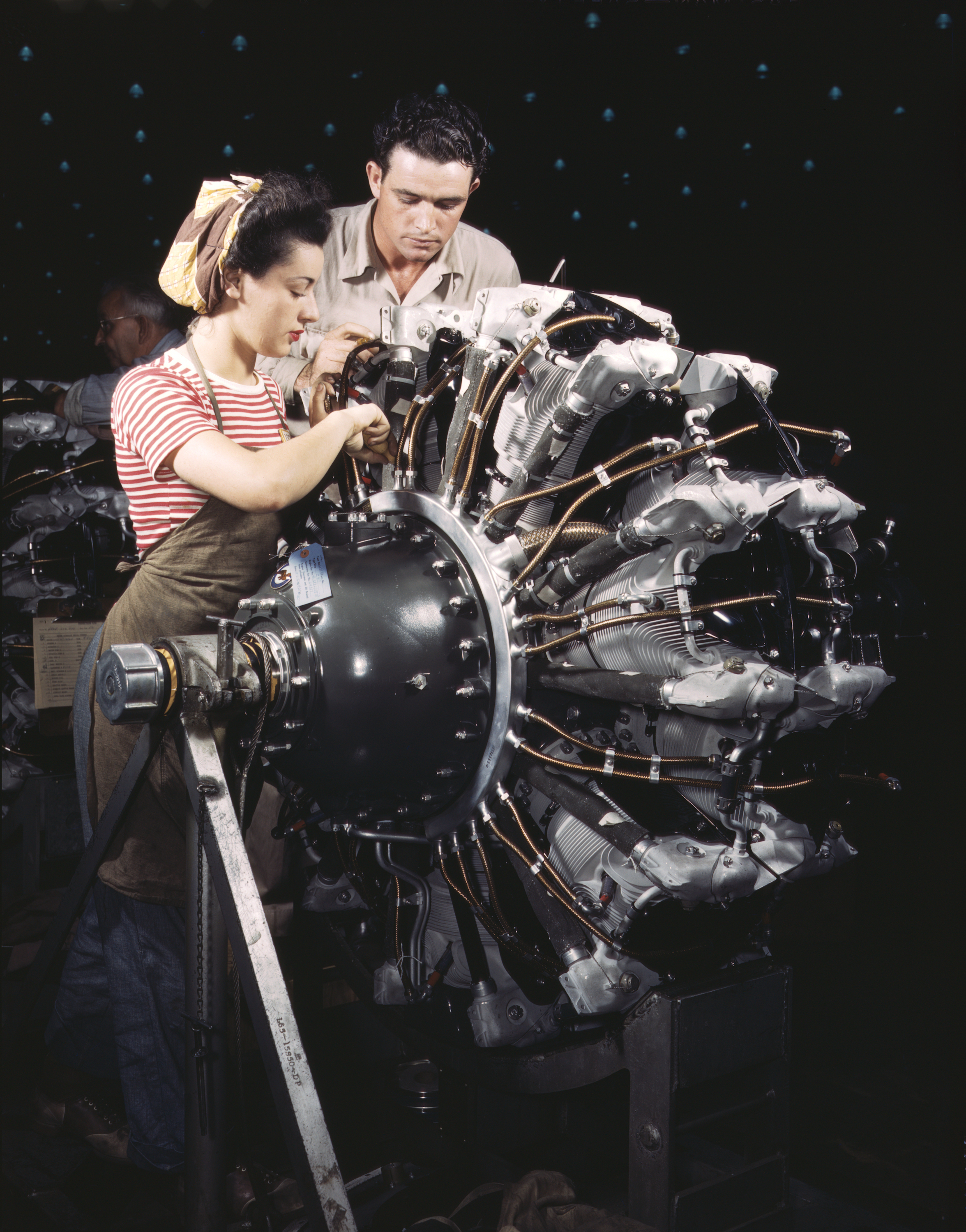 Woman is Trained as Aircraft Engine Mechanic
