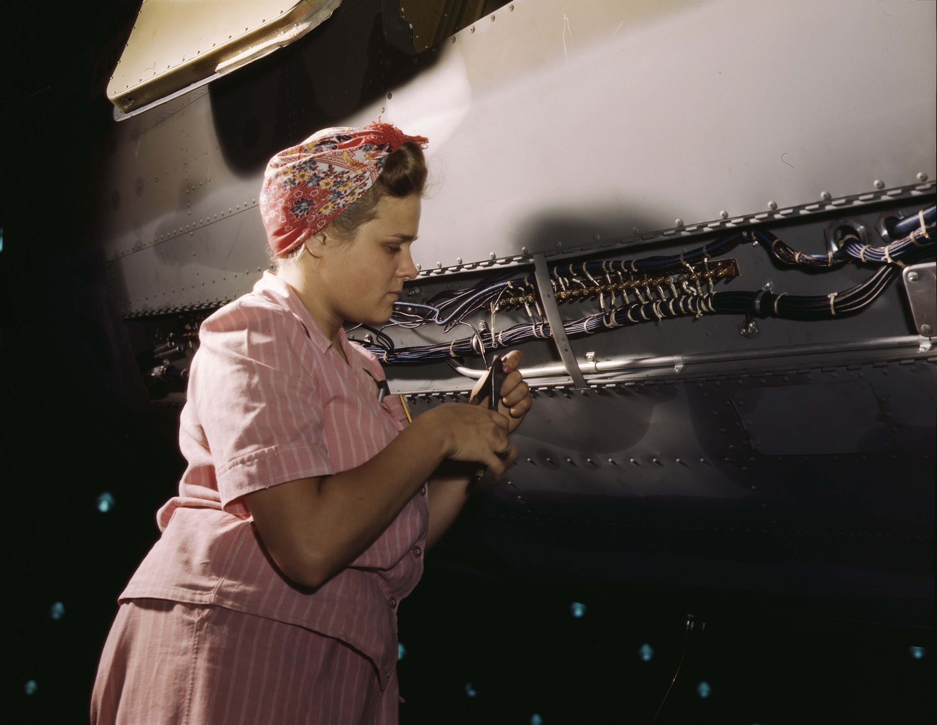 Worker Doing Electrical Assembly at Douglas Aircraft Plant
