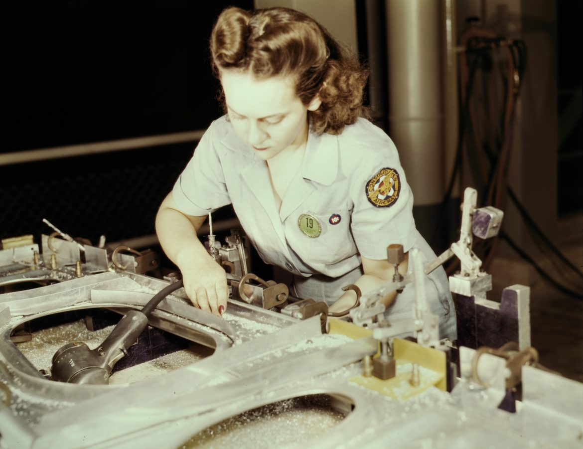 Working on Wing Bulkhead at Consolidated Aircraft Plant