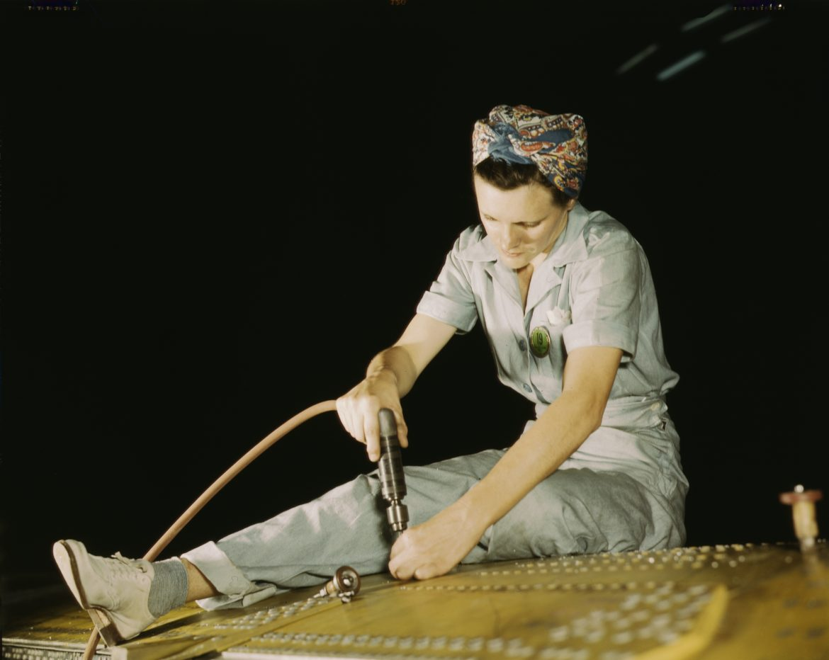 Aircraft Worker Drilling on a Liberator Bomber