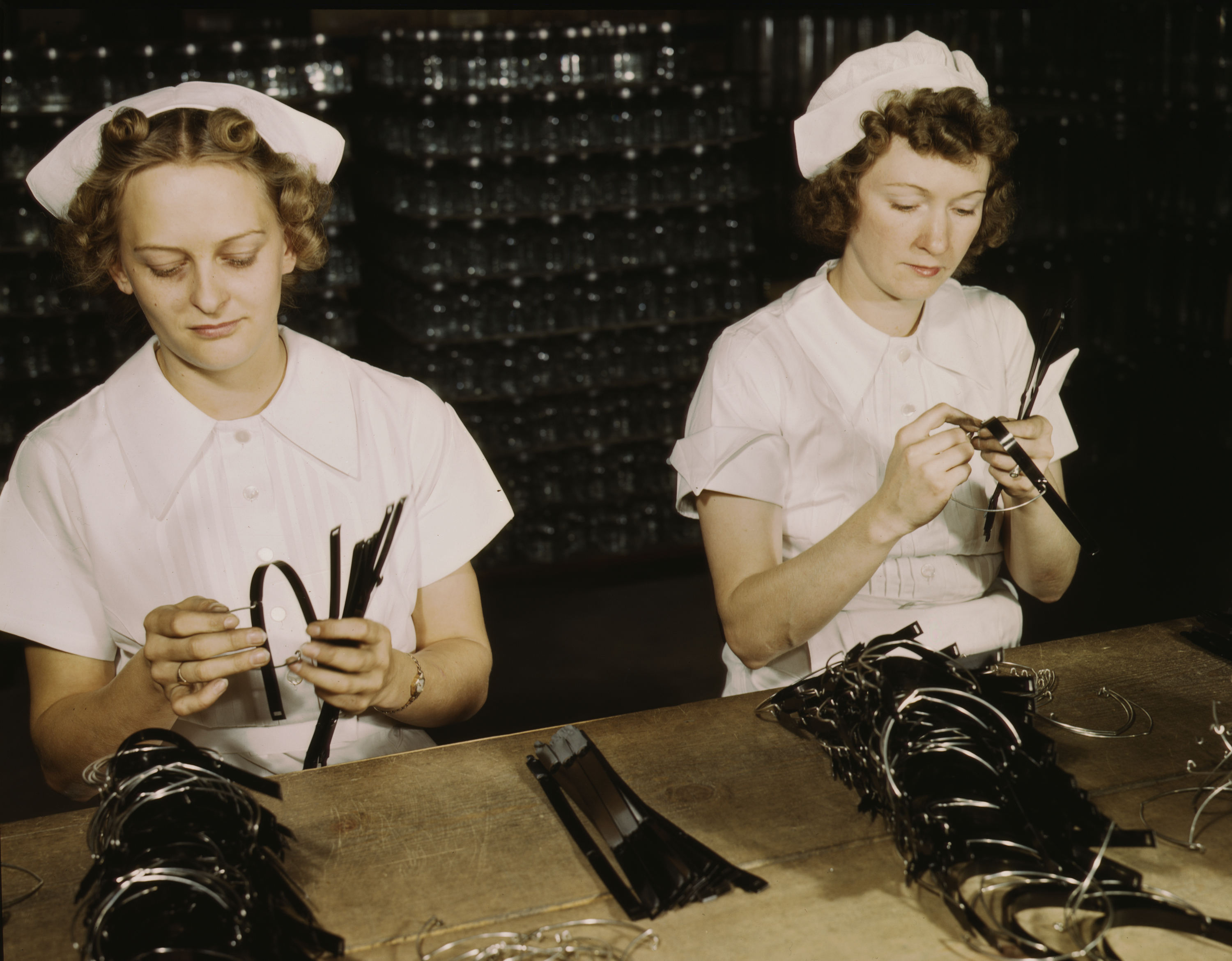 Navy Wives Do Assembly Work for Baxter Laboratories