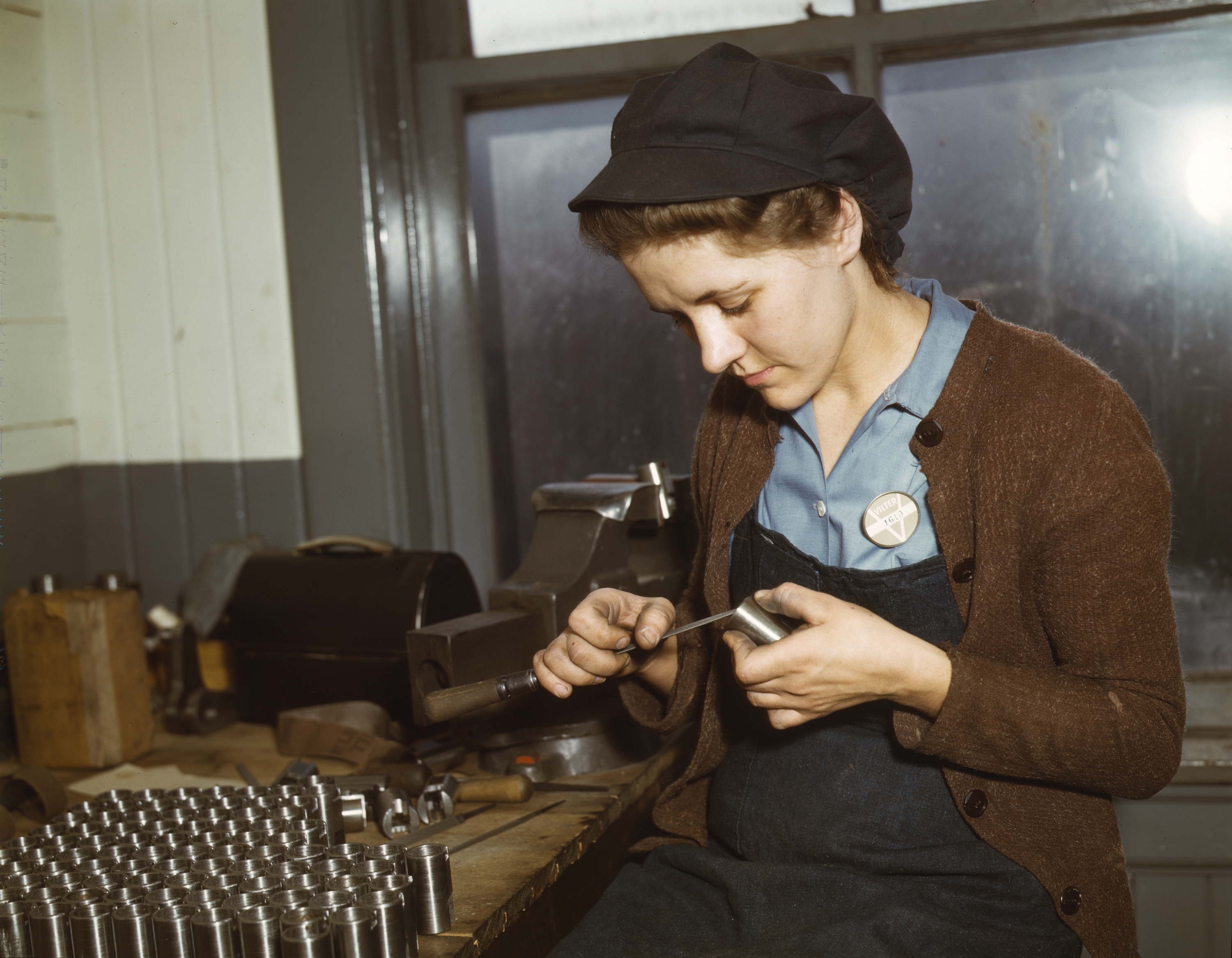 War Production Worker Making Gun Parts