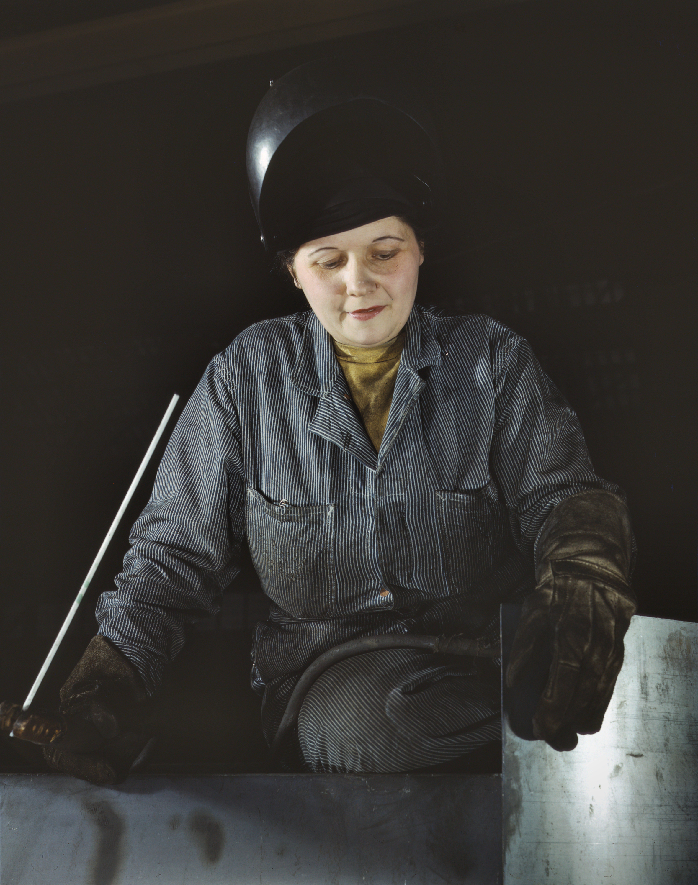Widow is Only Woman Welder at War Production Plant
