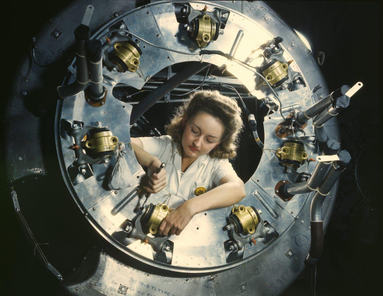 Assembling B-25 Bomber Motor Cowling