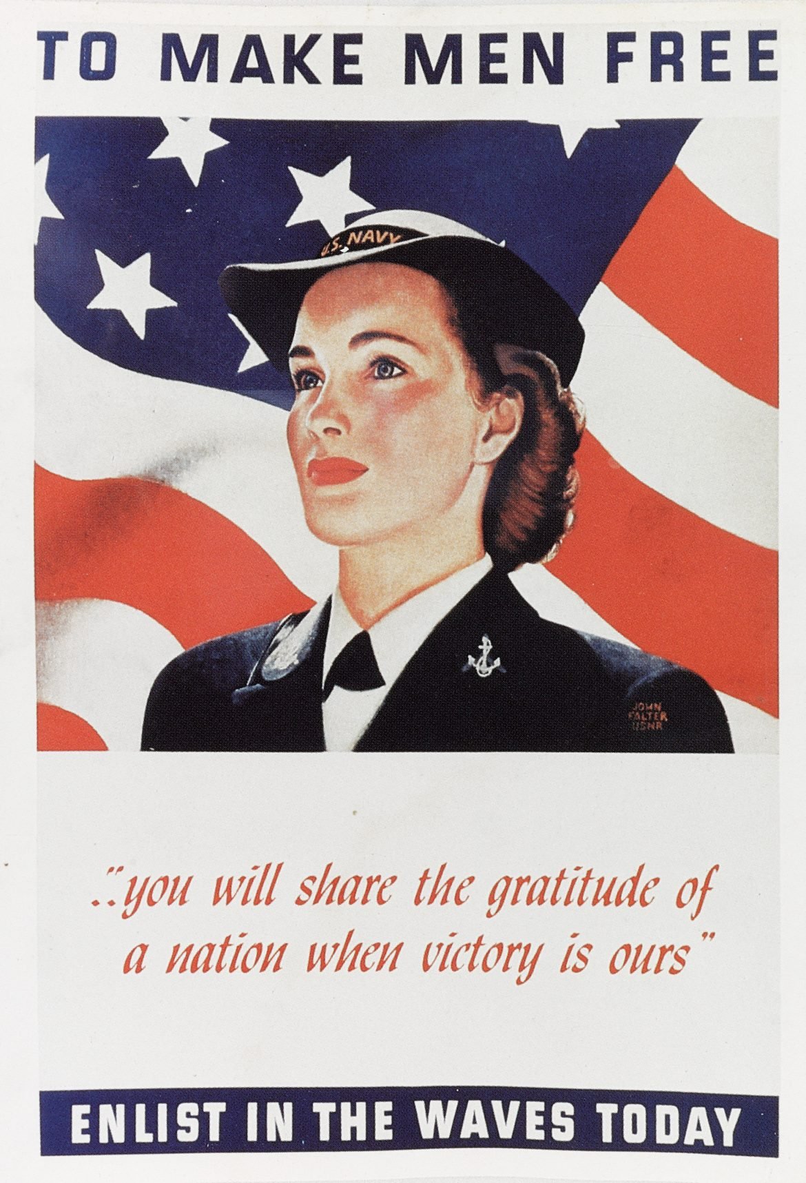 To Make Men Free WWII WAVES Recruiting Poster