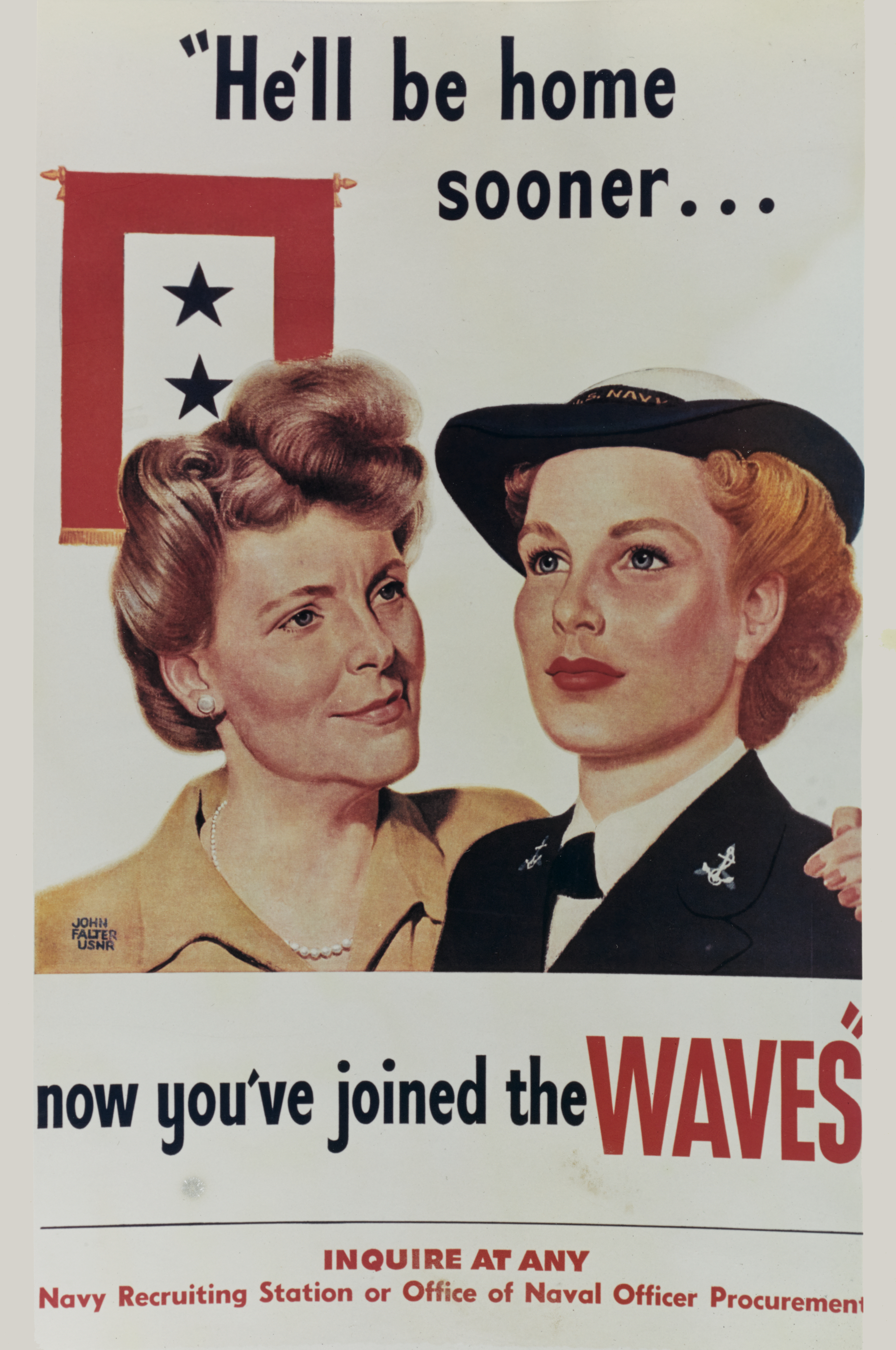 He'll Be Home Sooner WWII WAVES Recruiting Poster
