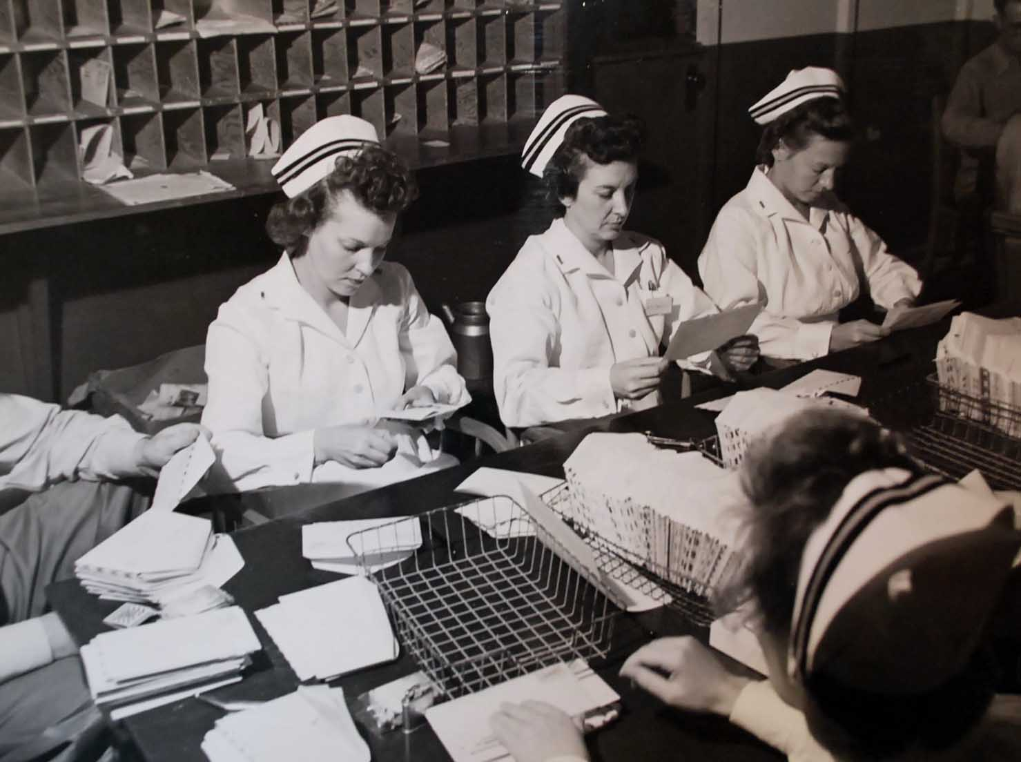 Navy Nurses Dispersing Mail in Pearl Harbor
