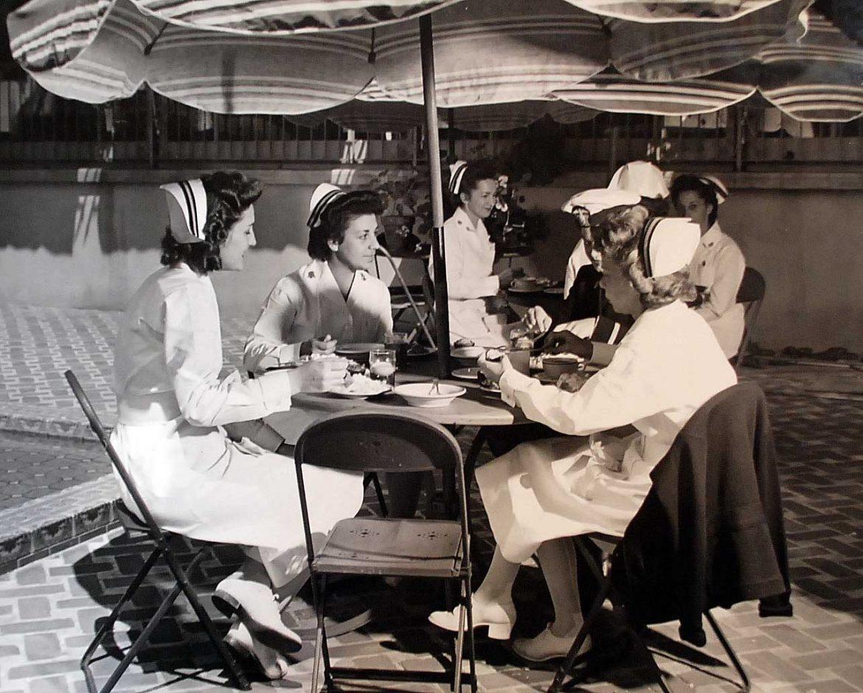 Navy Nurses Having Lunch on Outdoor Patio