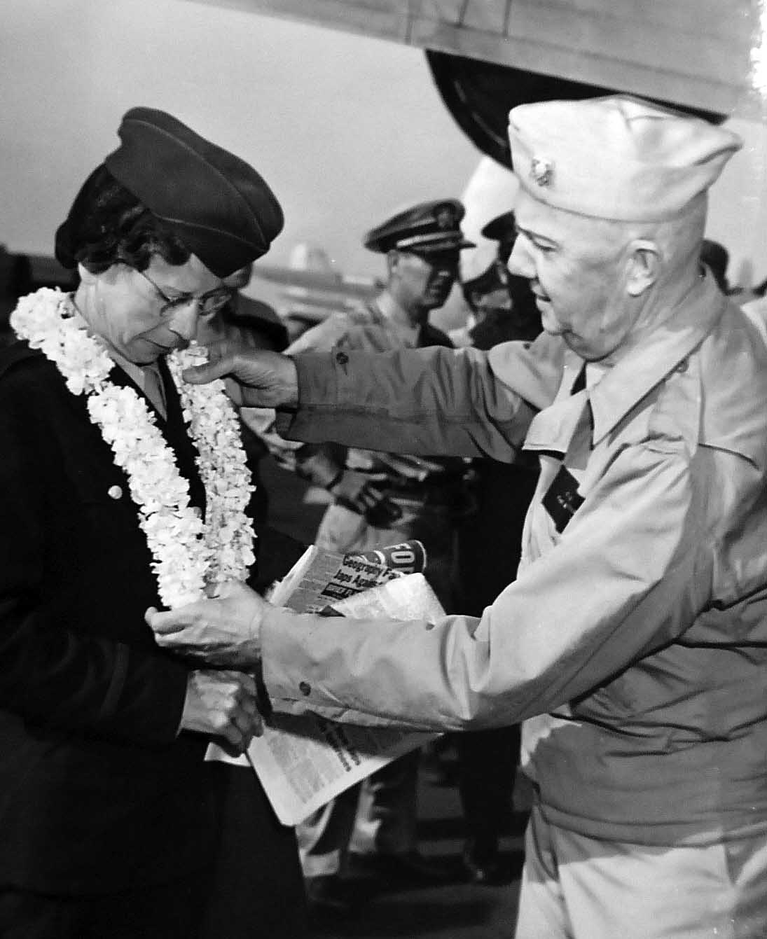 Former POW Navy Nurse Receiving Lei from Captain