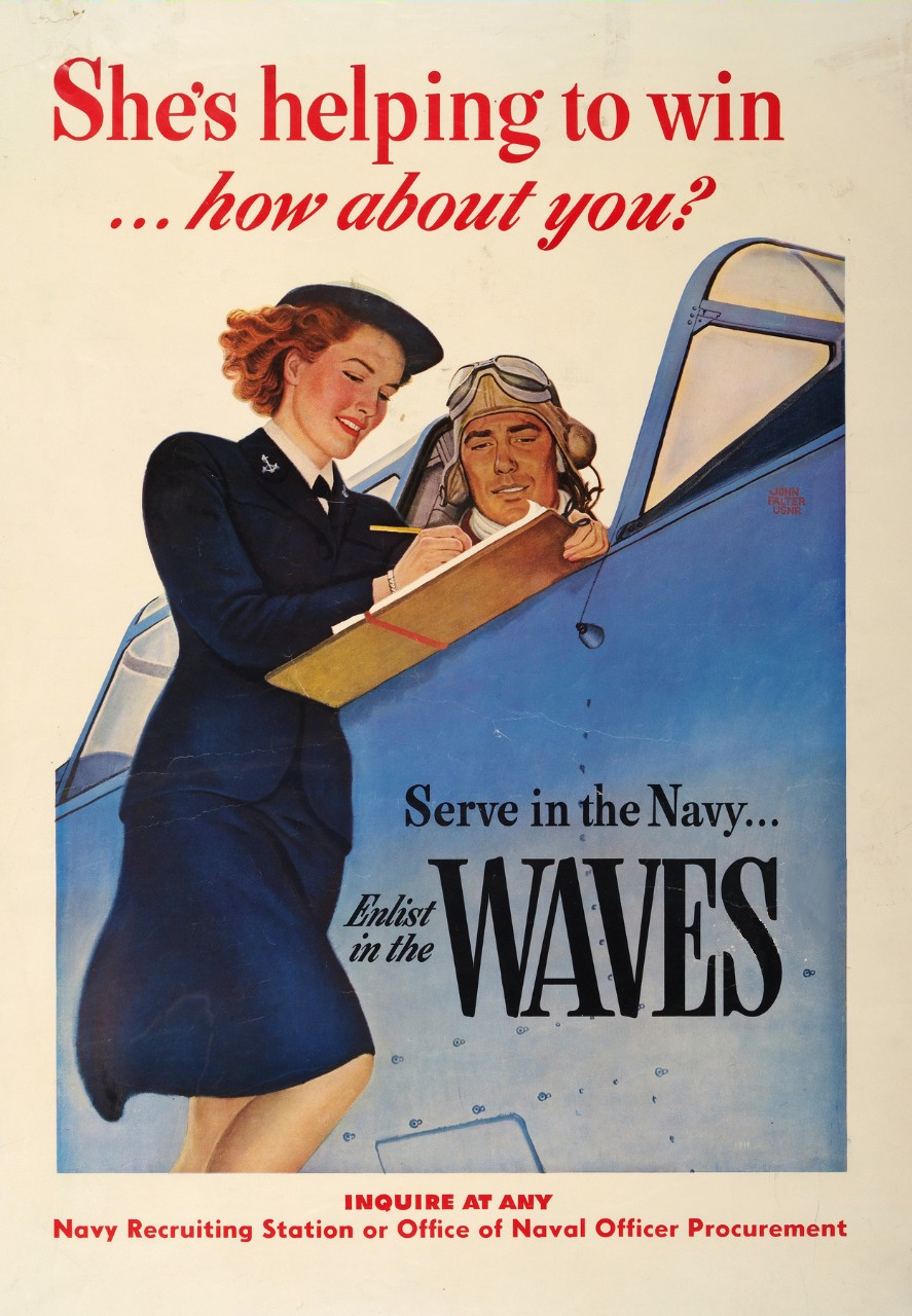 She's Helping to Win WWII WAVES Recruiting Poster