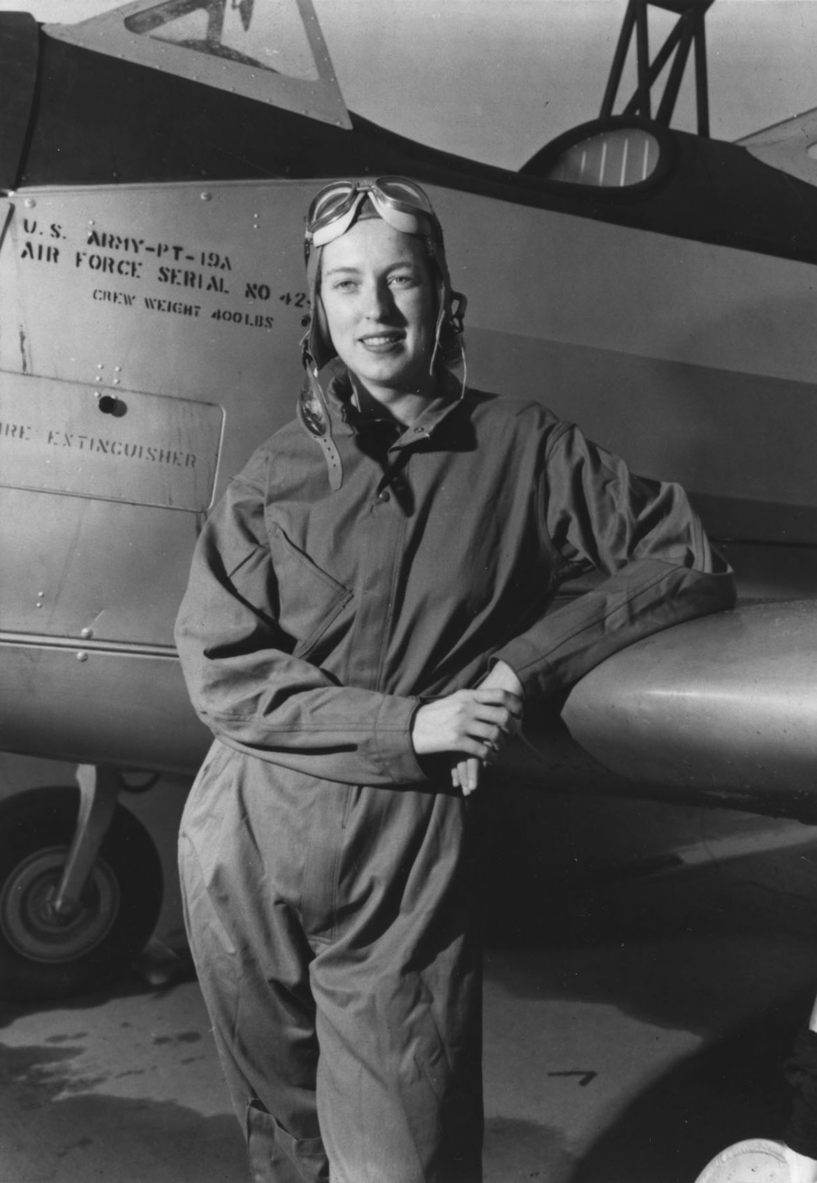 WASP Pilot Cornelia Fort with her PT-19A Plane