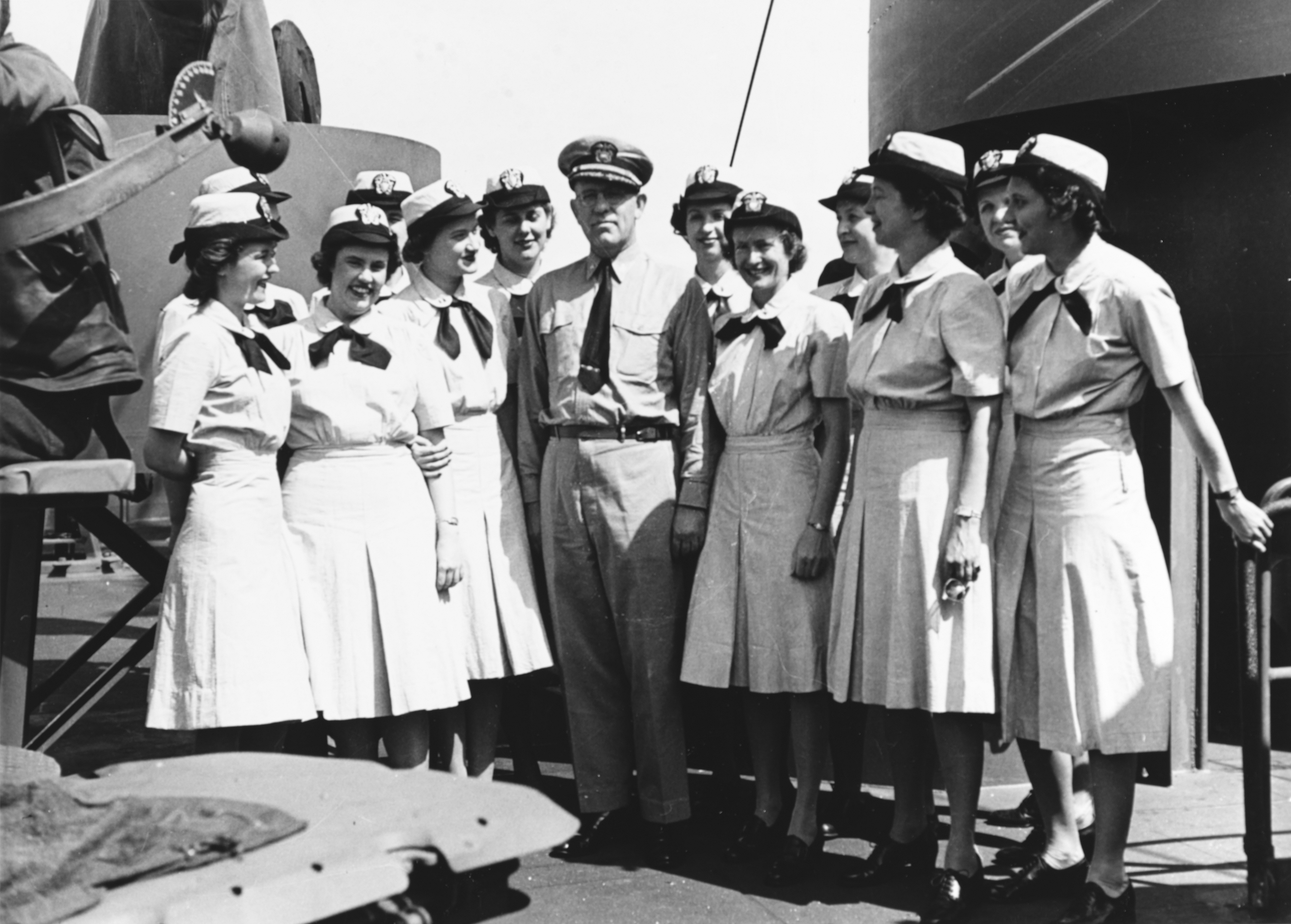 WAVES Pose With Captain on Bridge of USS Bundy