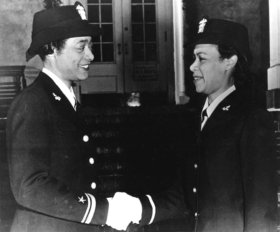 First African-American WAVES Officers Congratulate Each Other