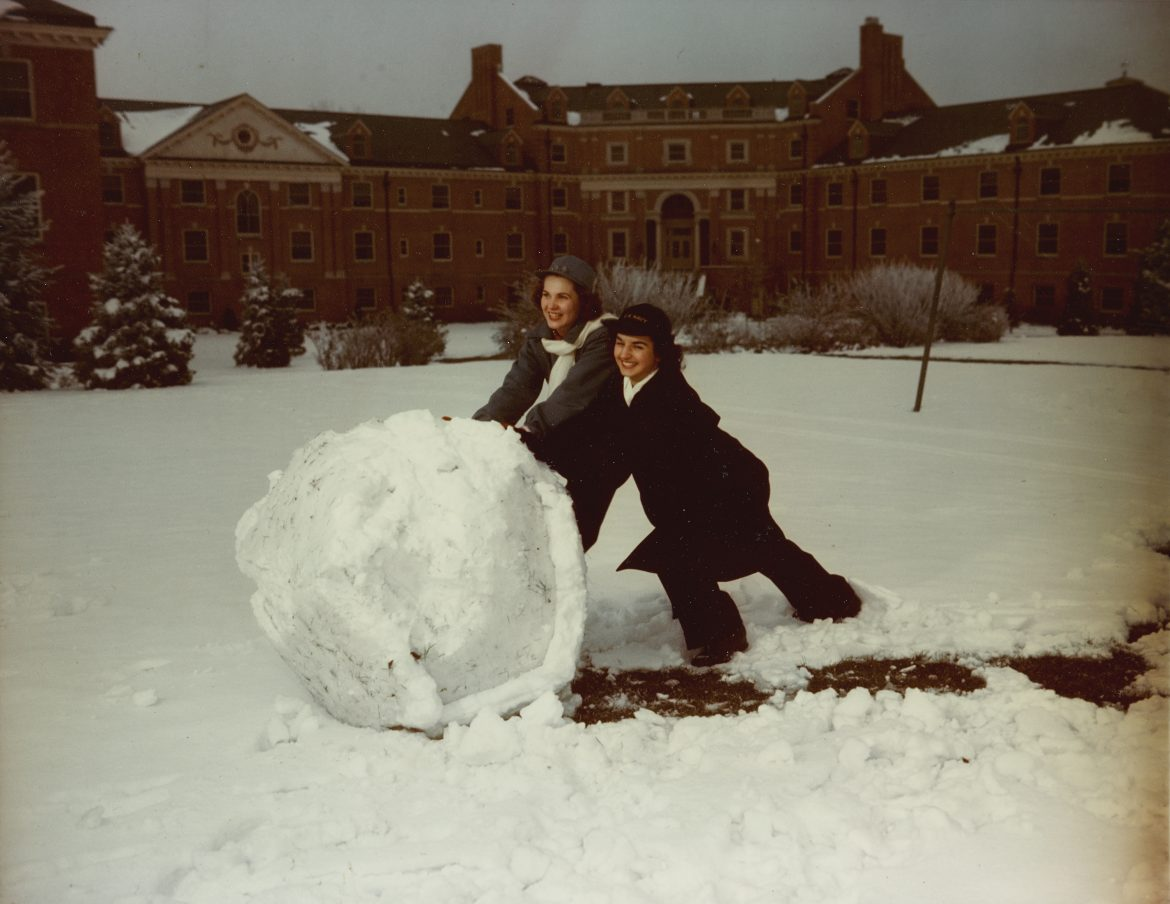 WAVES Yeoman Students Rolling Giant Snowball