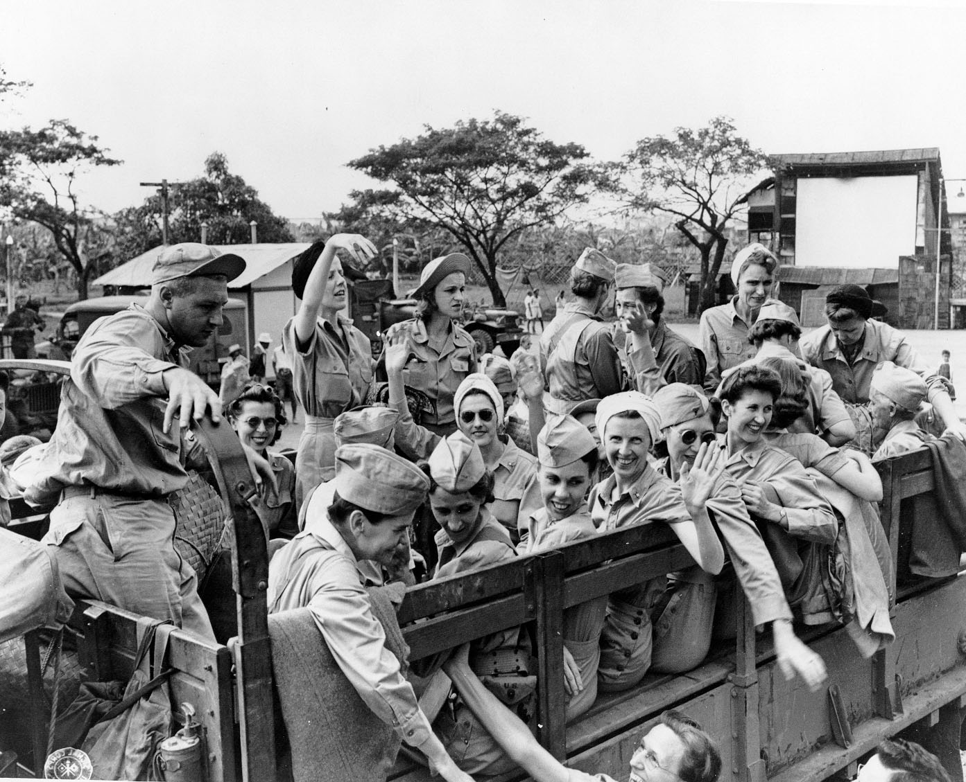 Army Nurses Leaving Manila in Trucks After Rescue