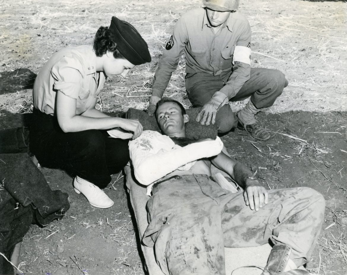 Army Nurse with Wounded Parachute Jumper