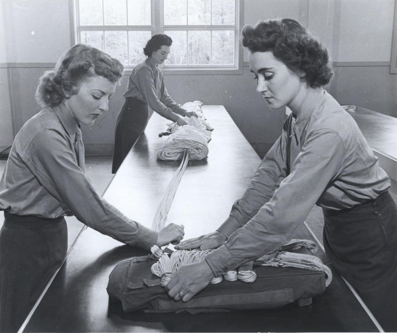 Women Marines Learning to Rig Parachutes