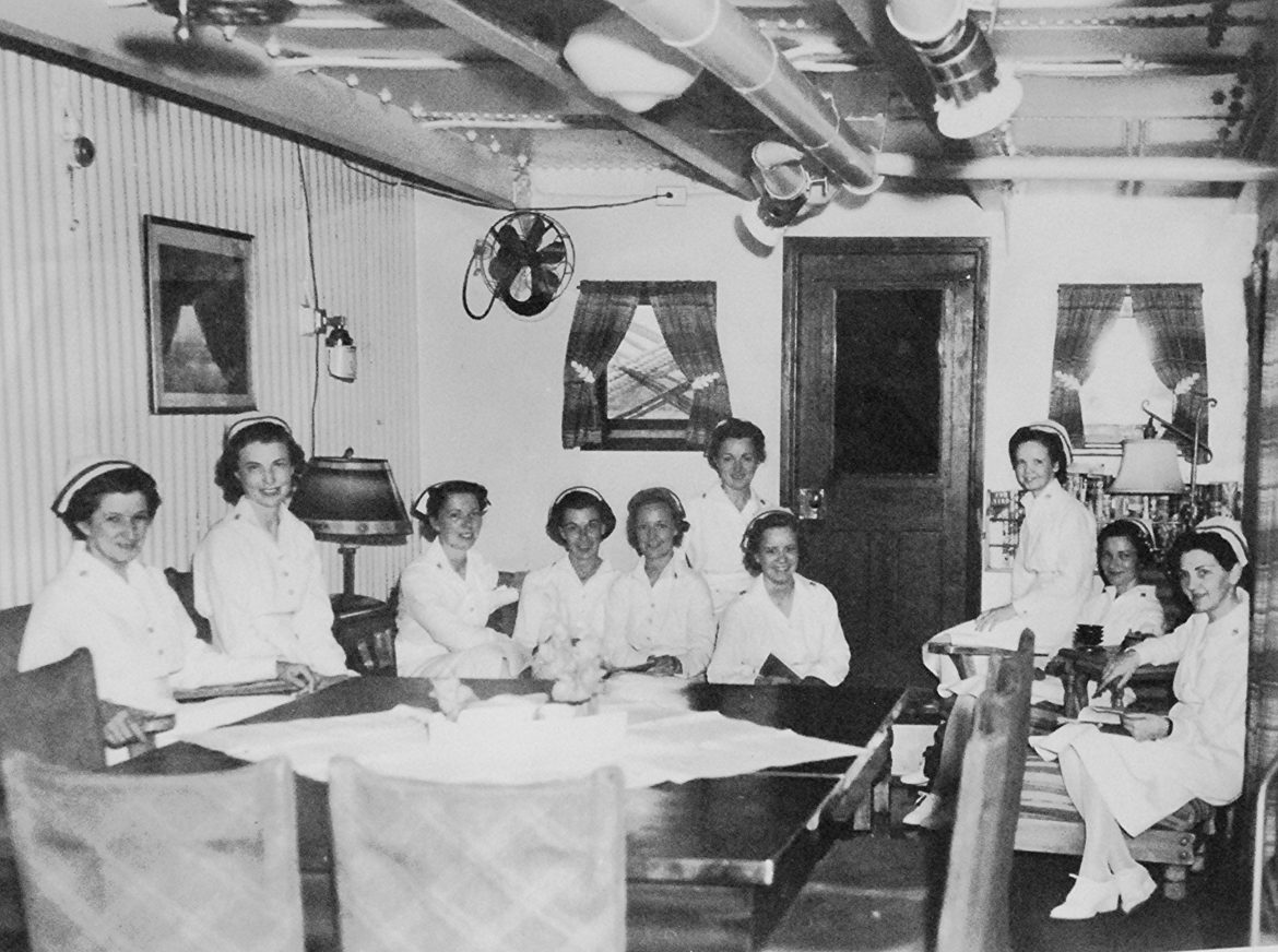 Navy Nurses in USS Relief (AH-1) Wardroom