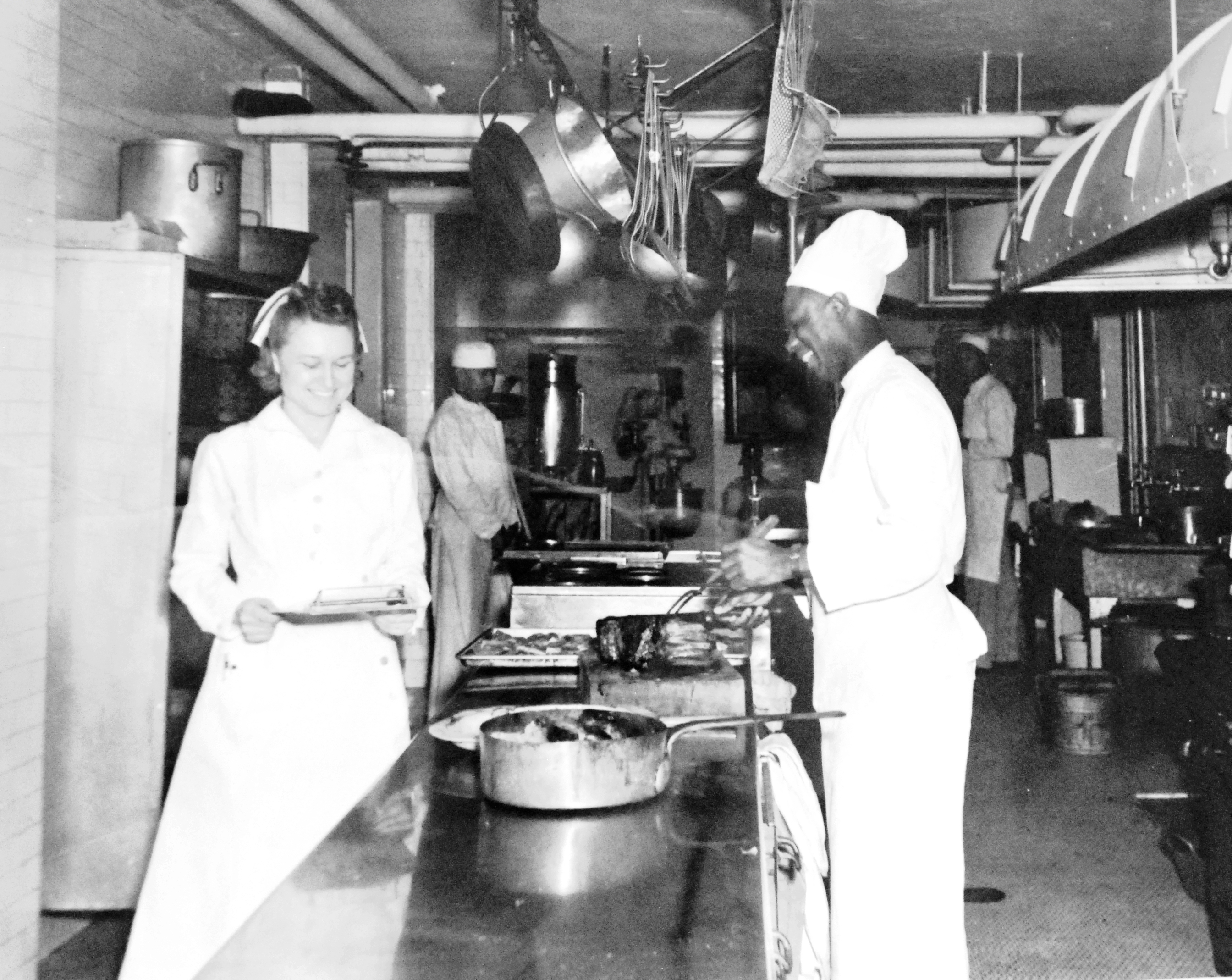 WWII Navy Nurse and Steward in Hospital Ship's Kitchen