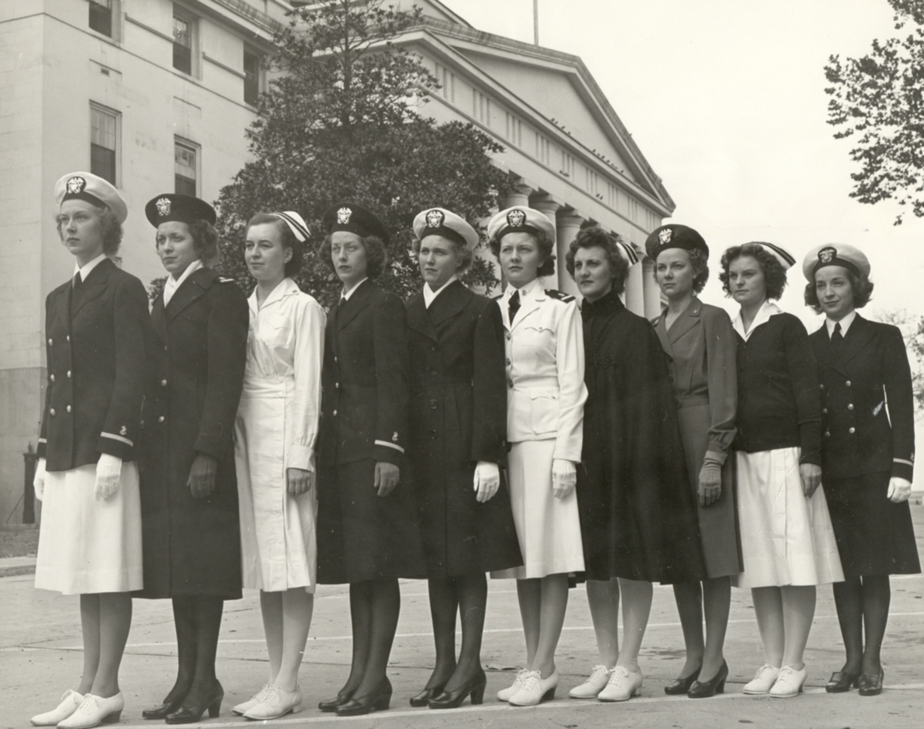 Navy Nurses Modeling Various Uniforms