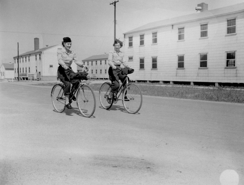 Army Nurses Riding Bikes at Camp Atterbury
