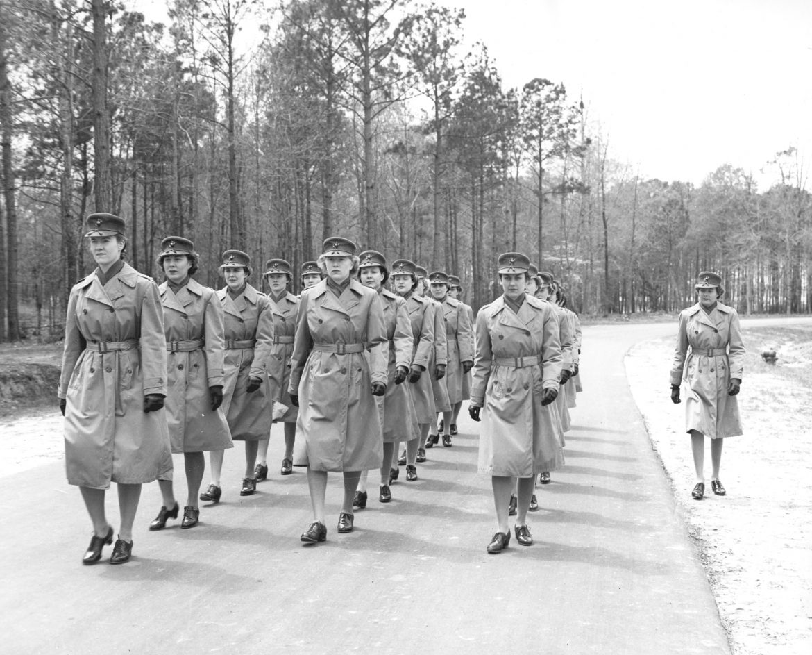 Women Marine Officers Marching at Camp Lejeune