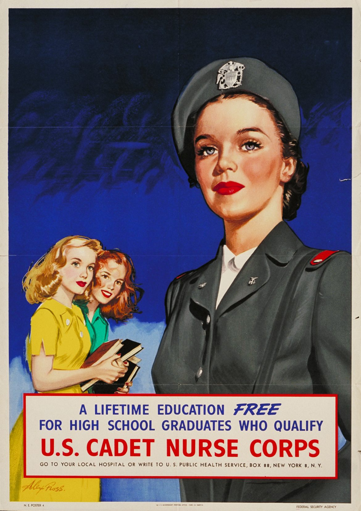 Lifetime Education U.S. Cadet Nurse Corps WWII Poster
