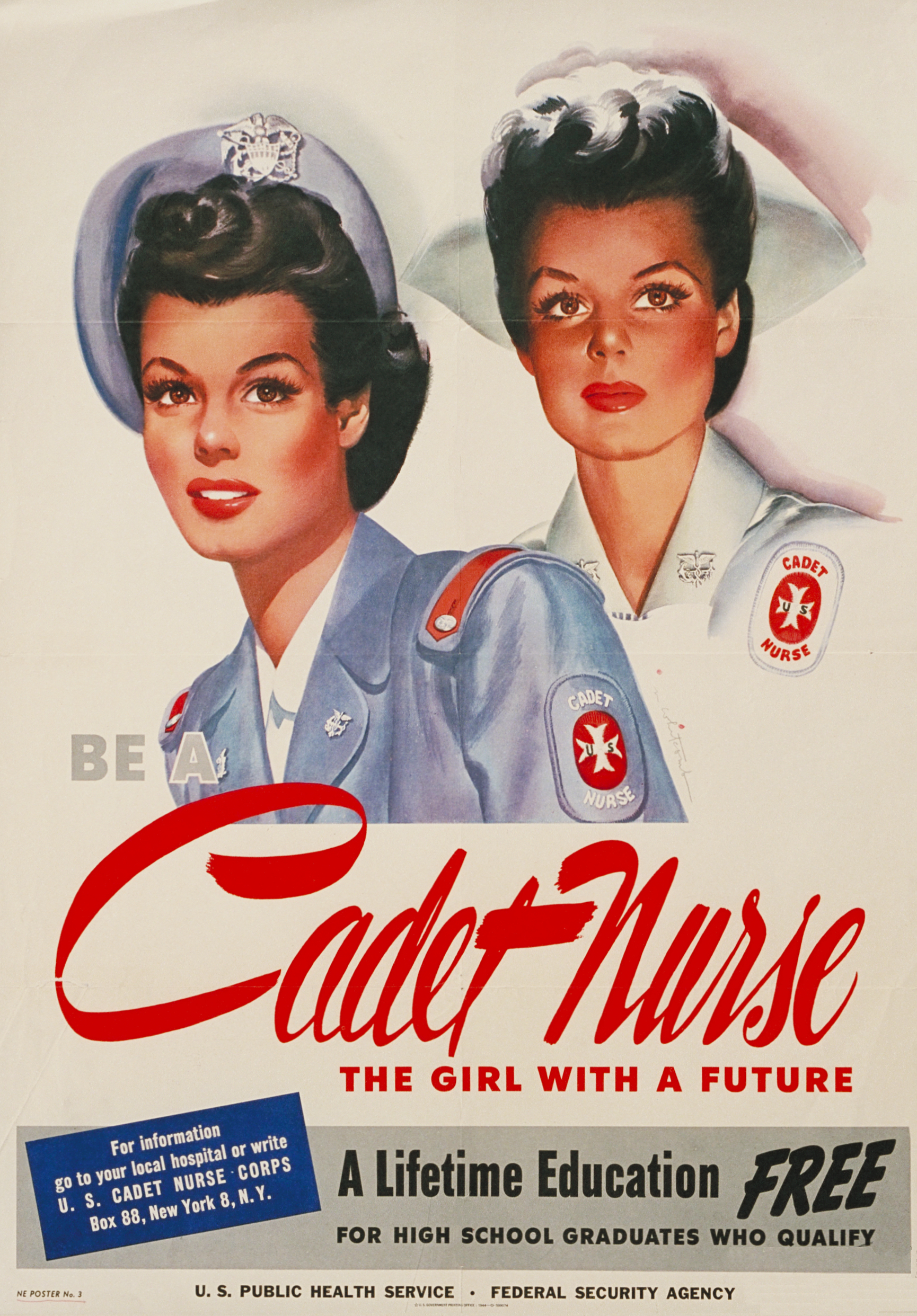 Be a Cadet Nurse: Girl With a Future WWII Recruiting Poster