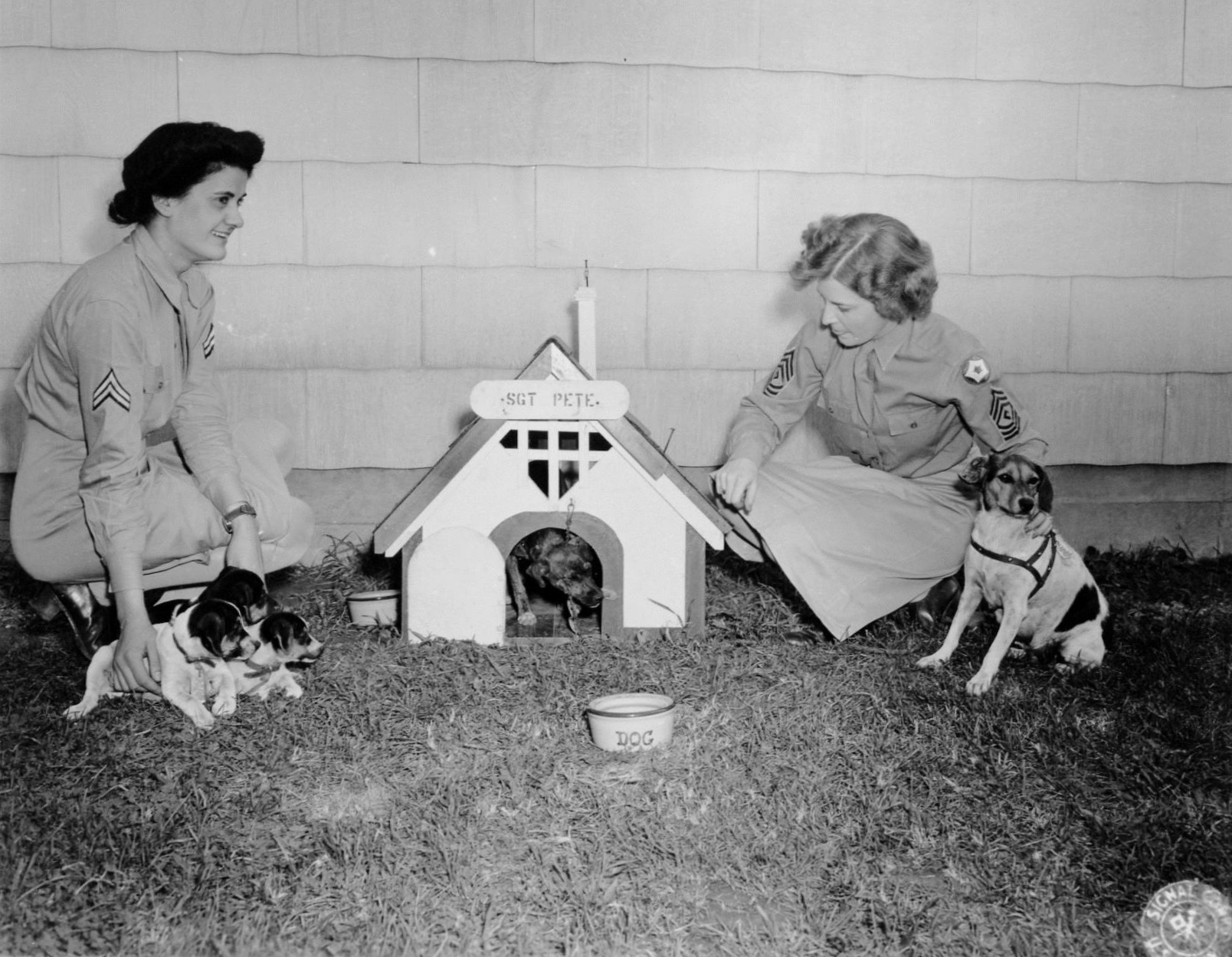 WACs with Dog Mascots at Camp Atterbury