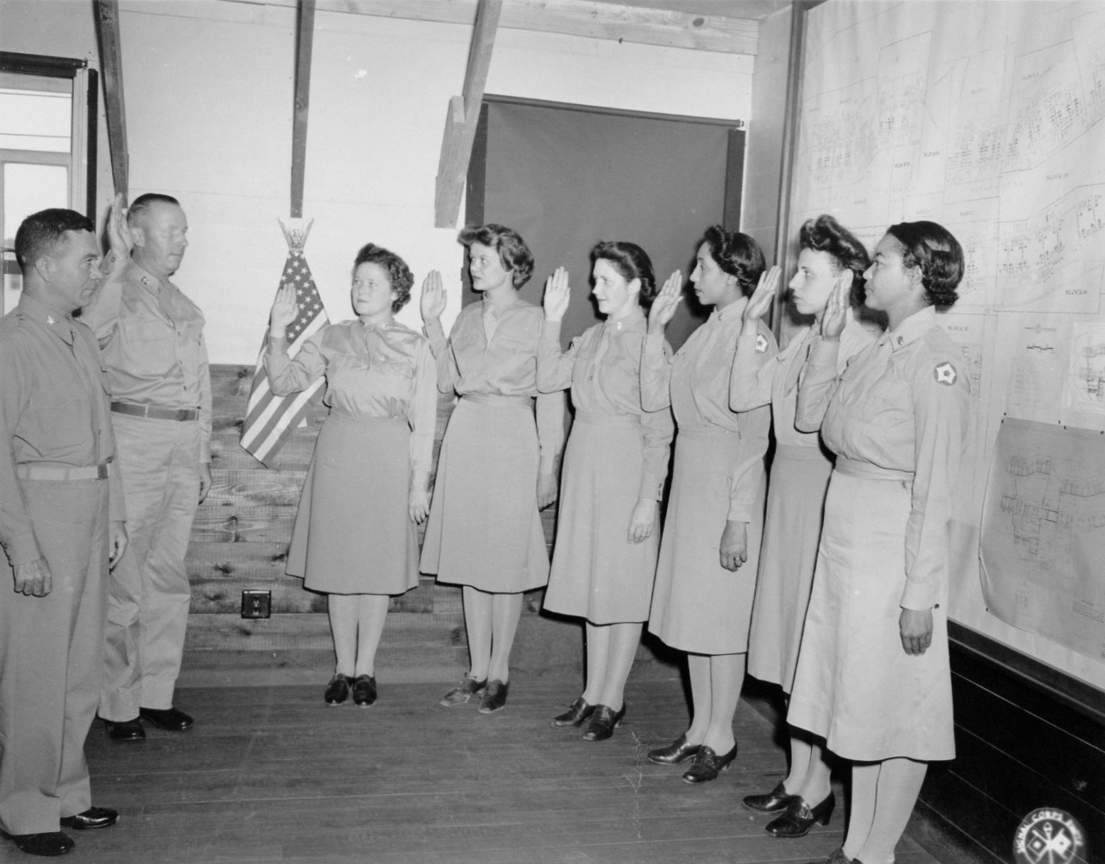 Swearing In of Six WAC Officers during WWII
