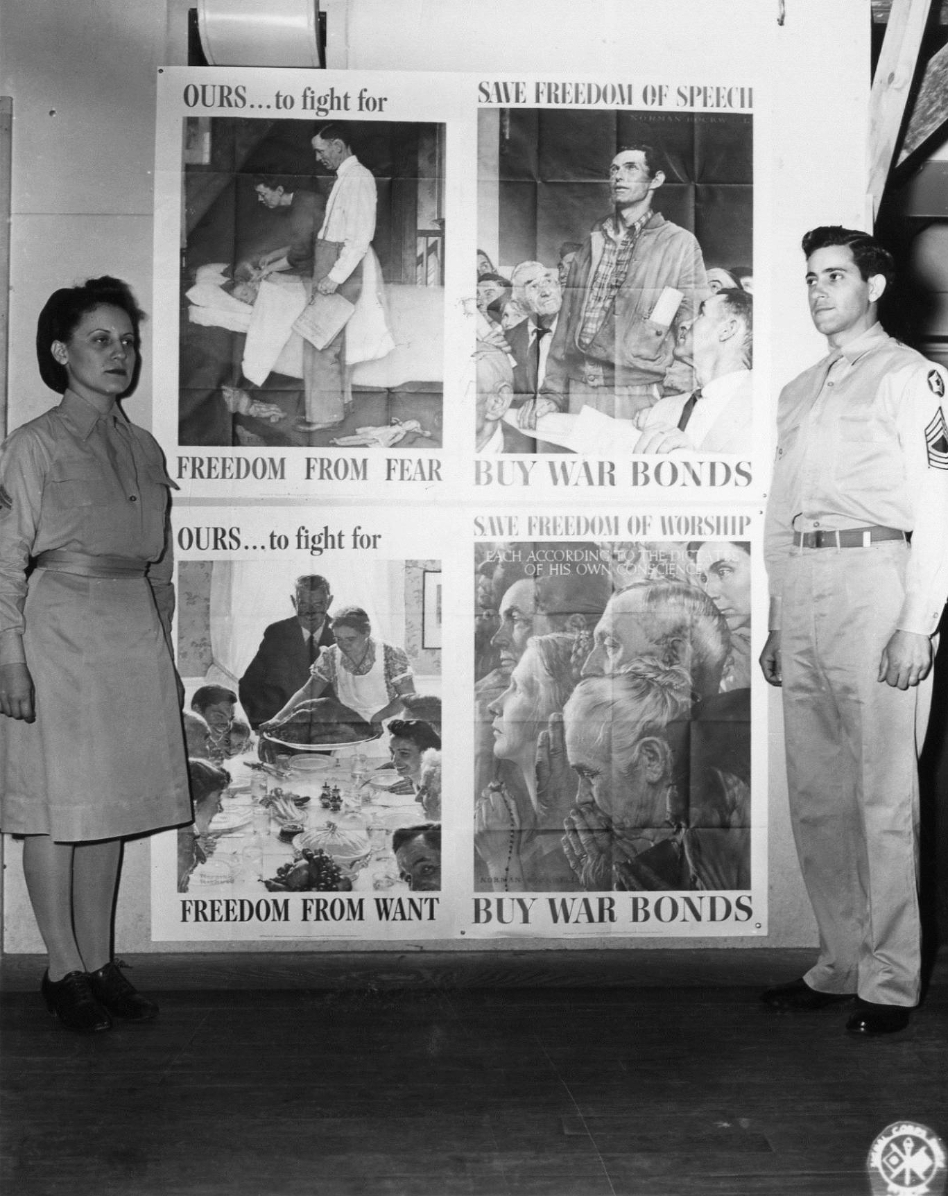 WAC and Soldier with Four Freedoms Poster