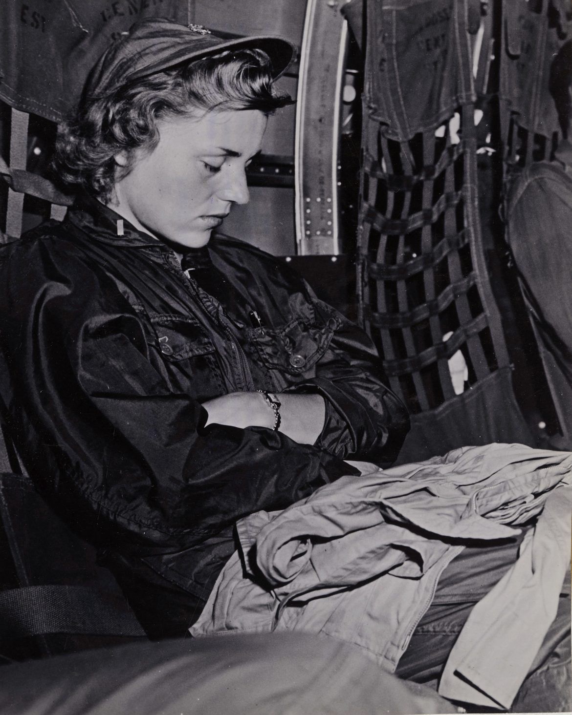 Navy Flight Nurse Catches a Few Winks