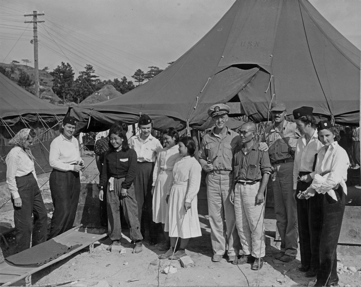 Nurses and Doctors at Military Hospital in Okinawa