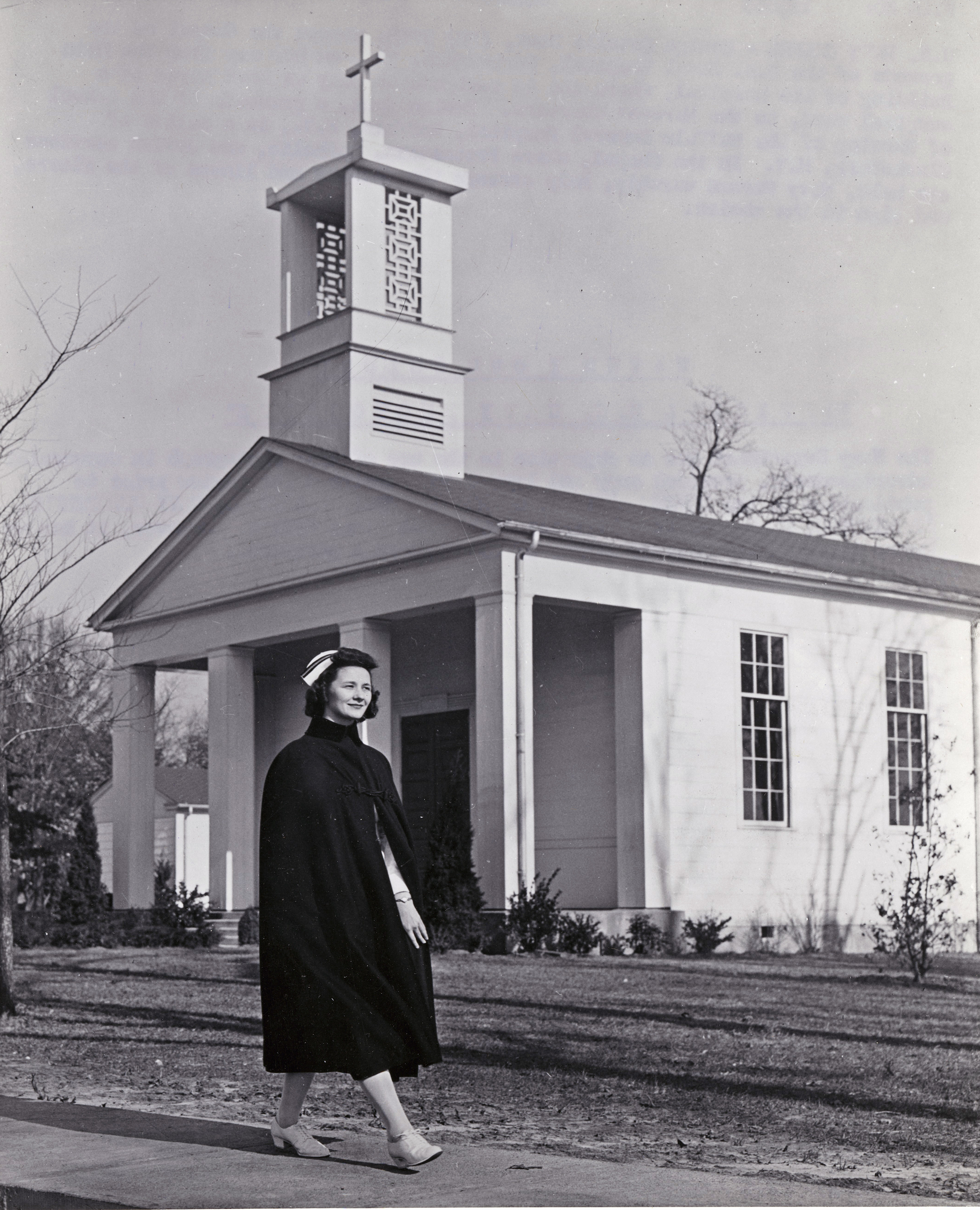 Navy Nurse Passing By Base Chapel