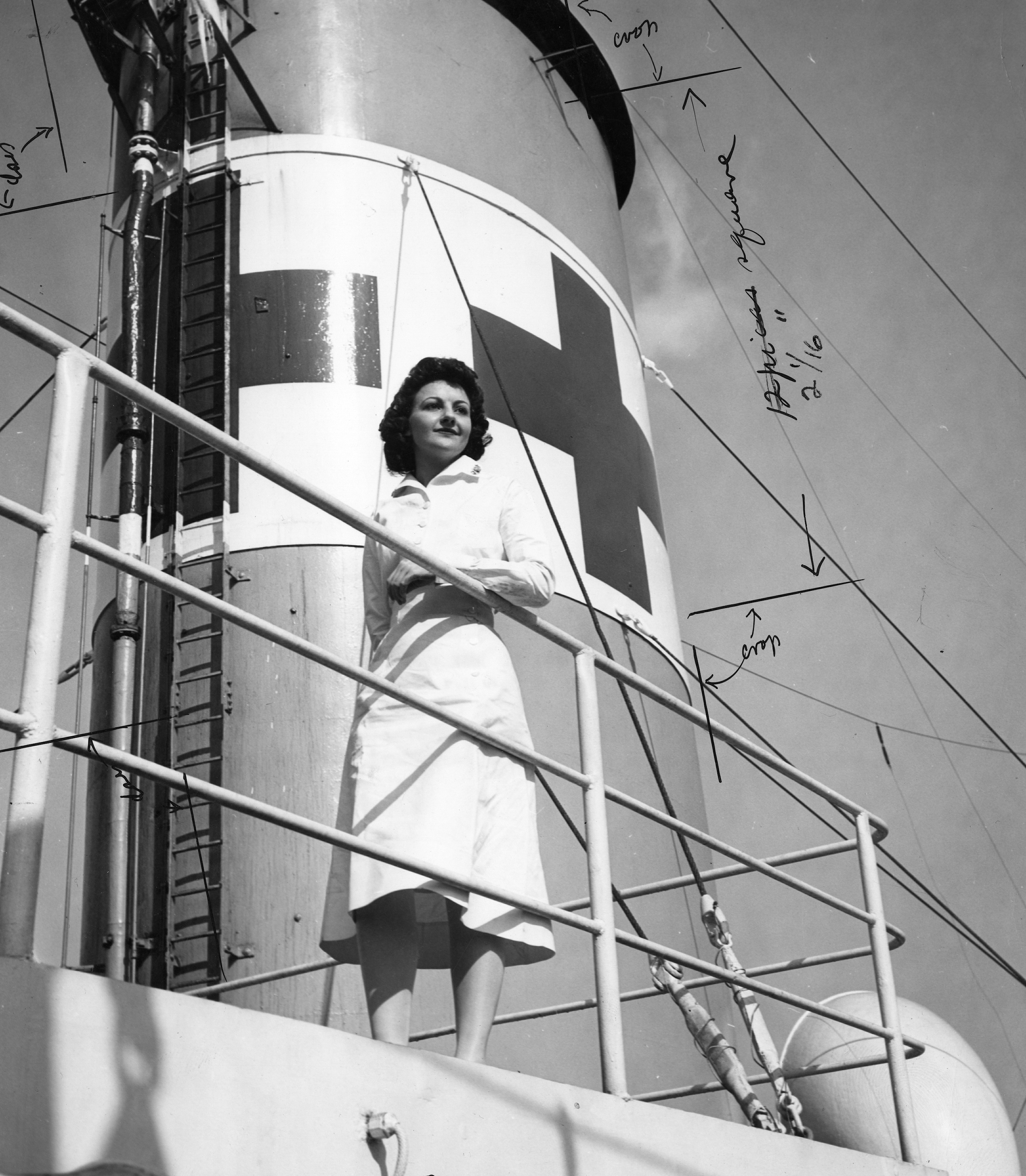 Navy Nurse Poses on Hospital Ship USS Refuge
