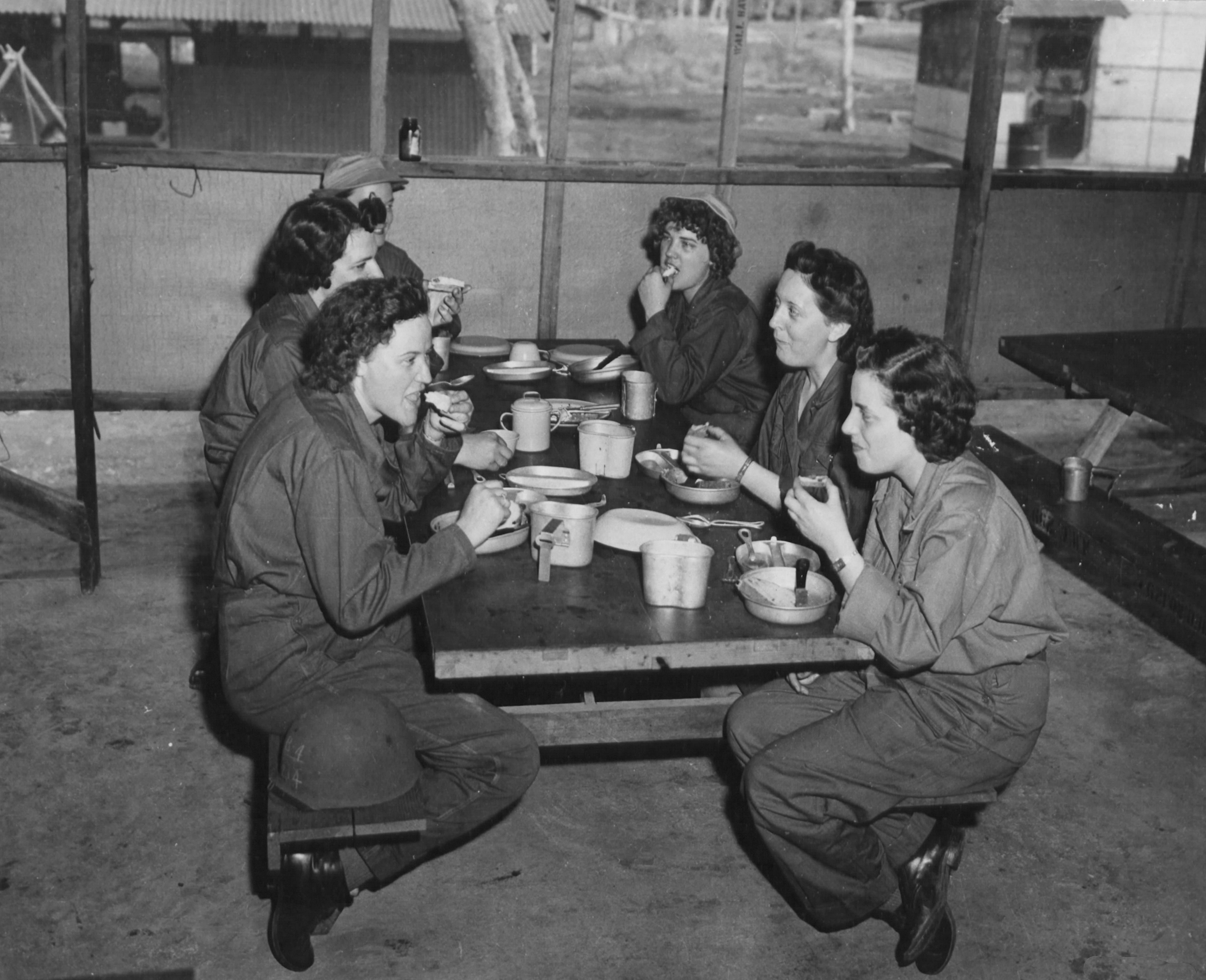 Newly-Arrived WACs Enjoy First Meal in New Guinea