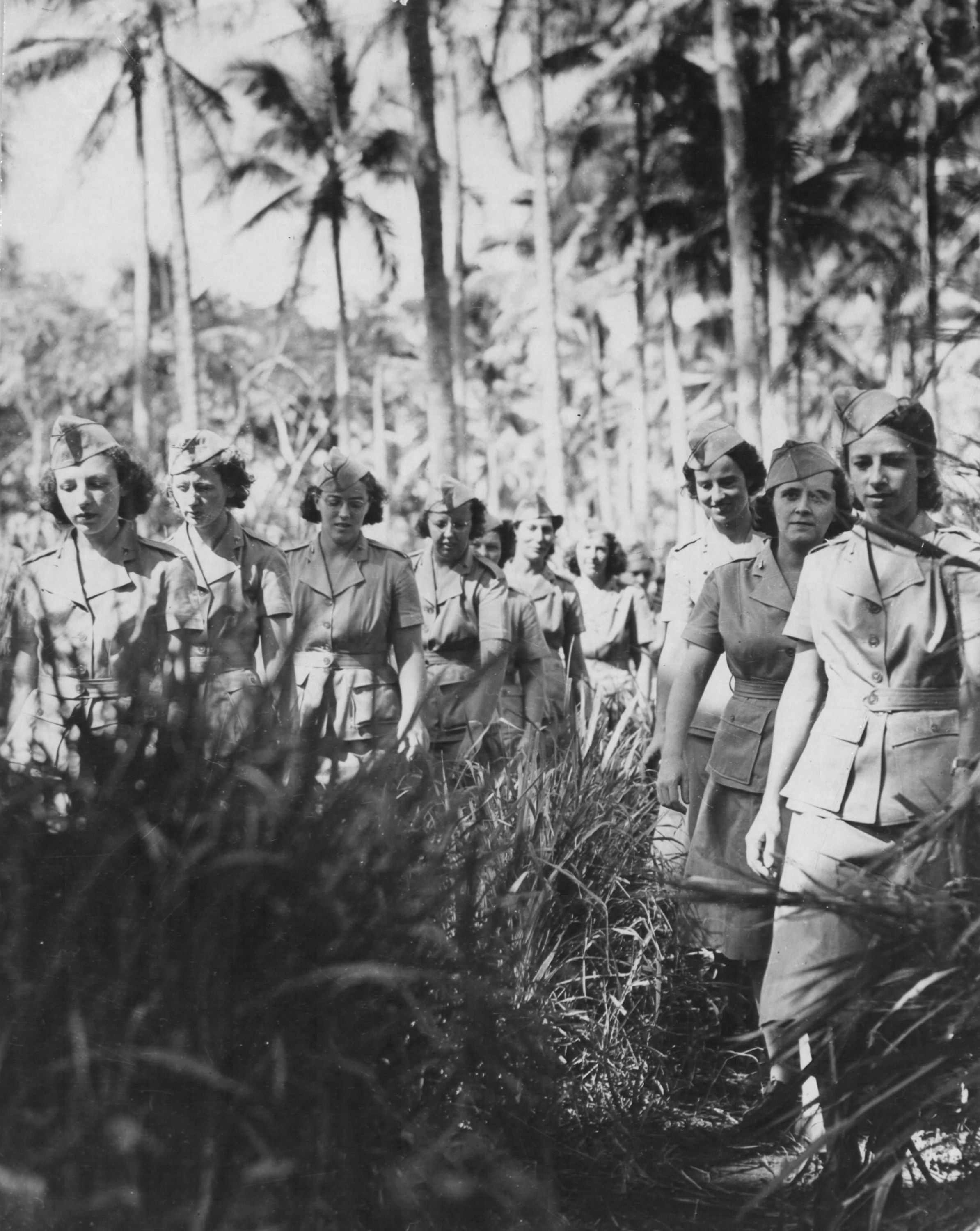 Army Nurses Marching Through Jungle