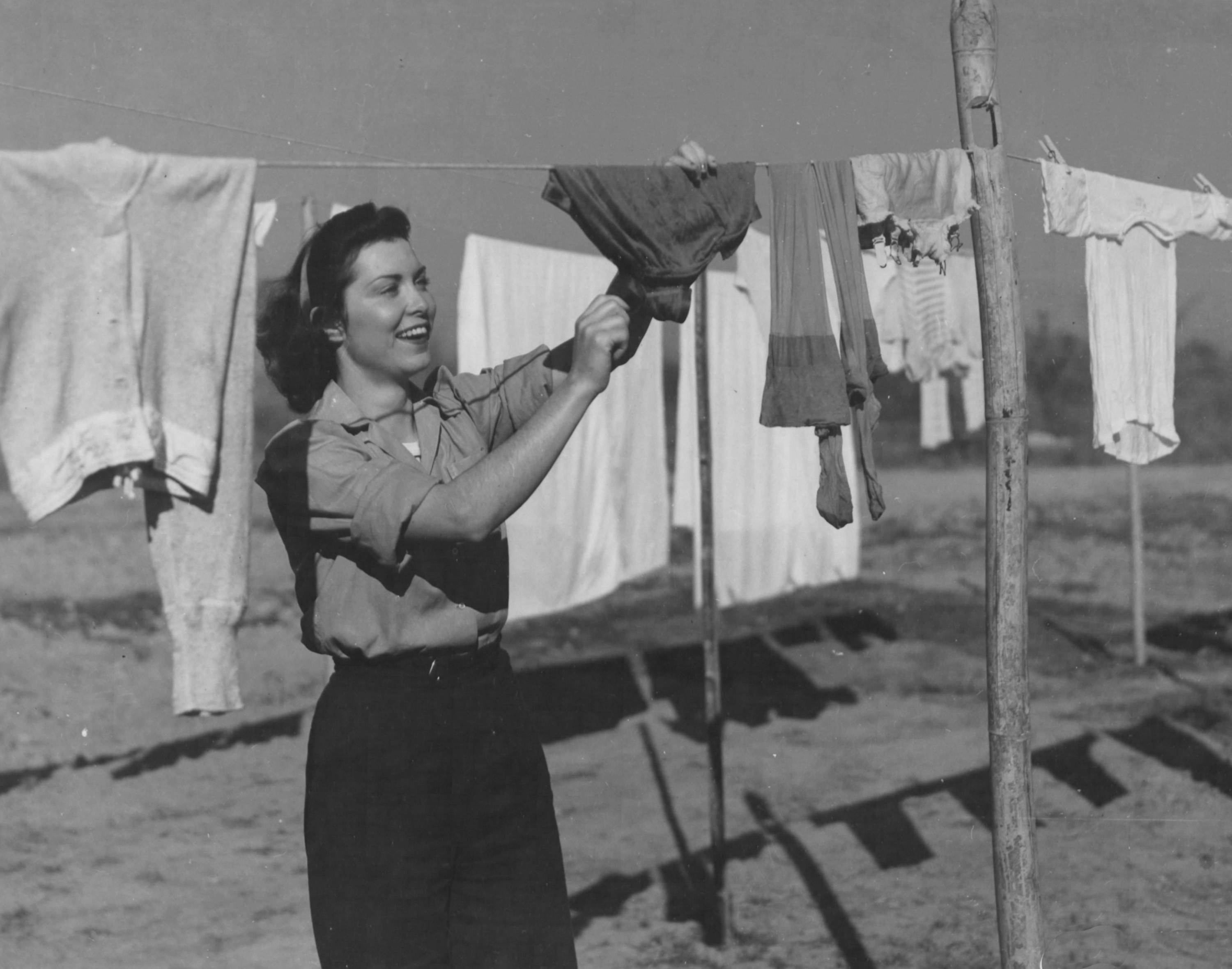 Army Nurse Hangs Wash Out to Dry