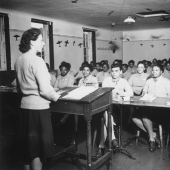 WWII Army Nurses Attend Classroom Lecture
