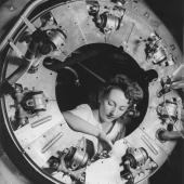 Civilian Worker Assembles B-25 Motor Cowling